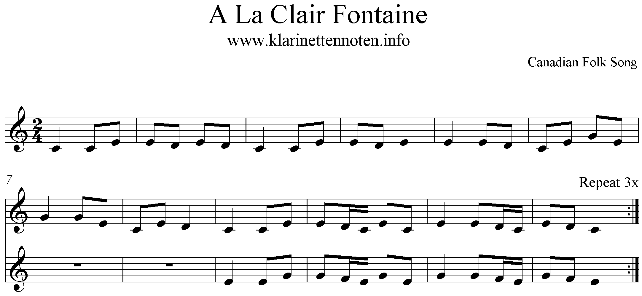 Freesheet music for Clarinet, Klarinette