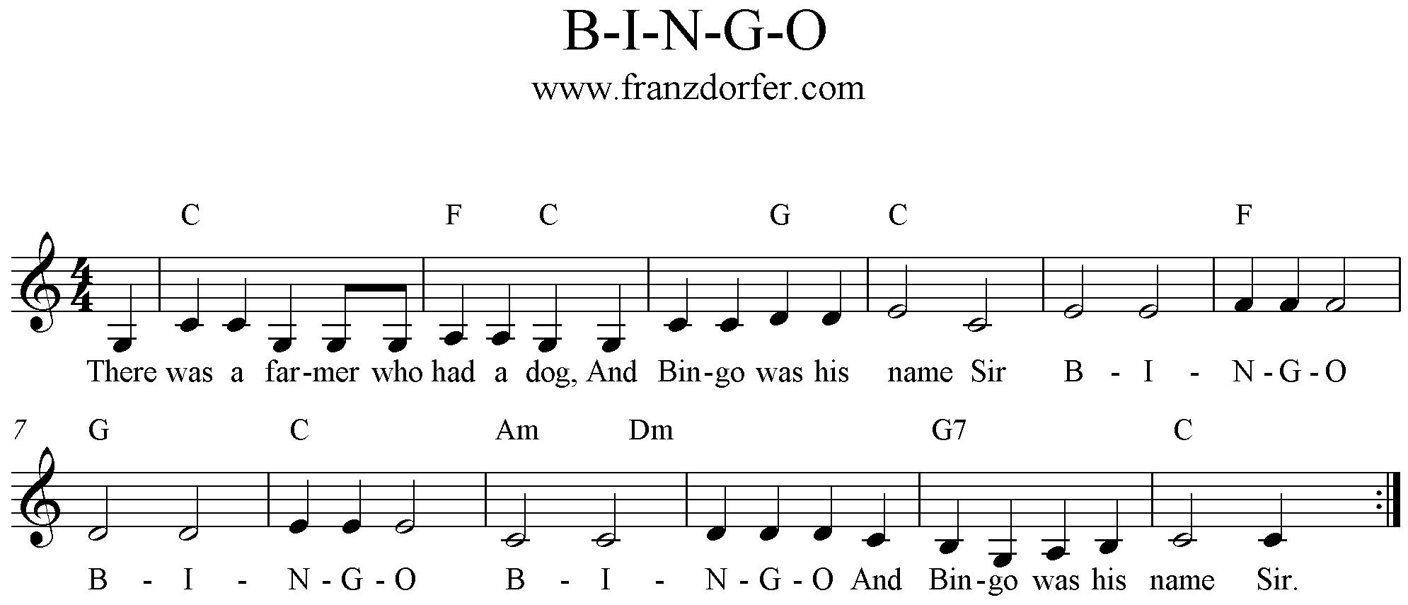 freesheet music B-I-N-G-O Song Clarinet