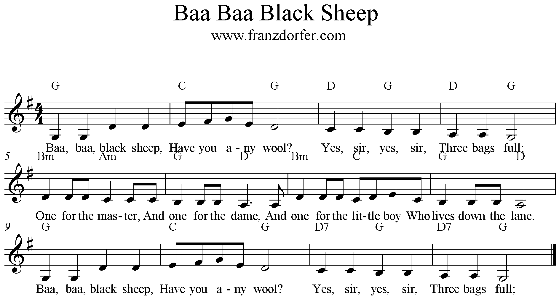 Baa Baa Black sheep song freesheetmusic clarinet Klarinette