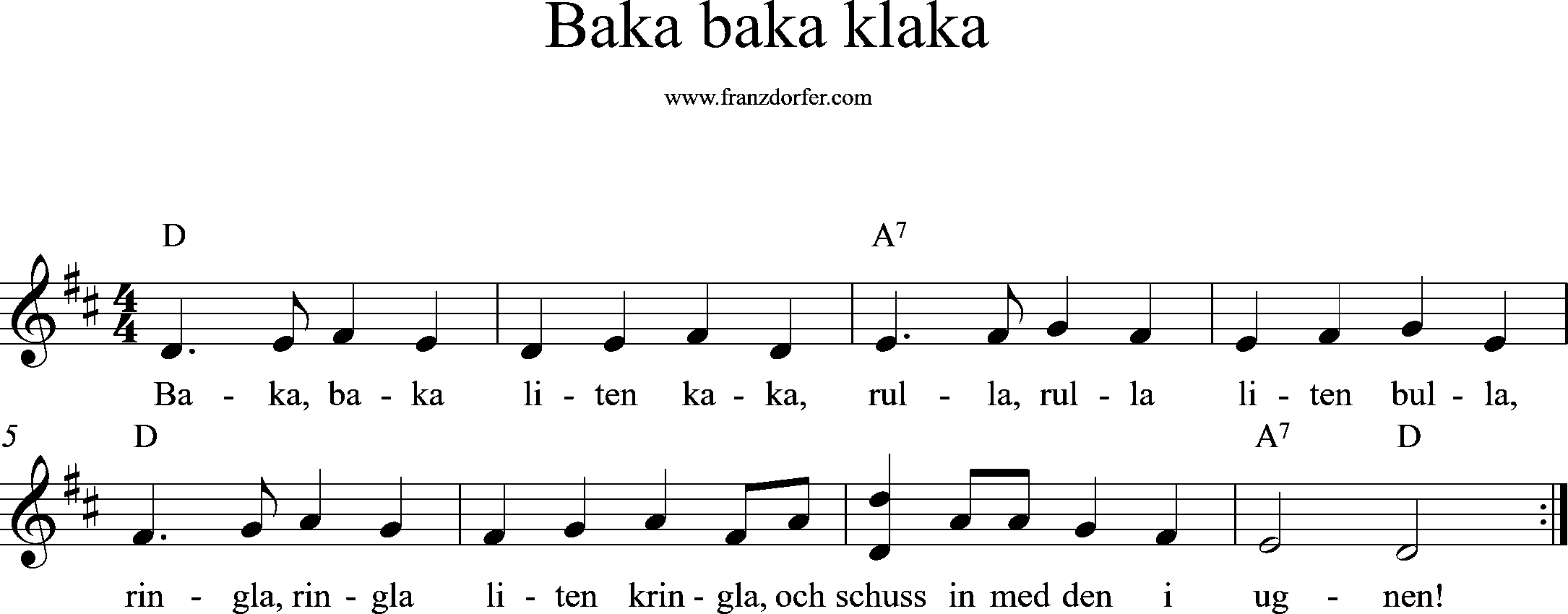 sheetmusic, baja baka