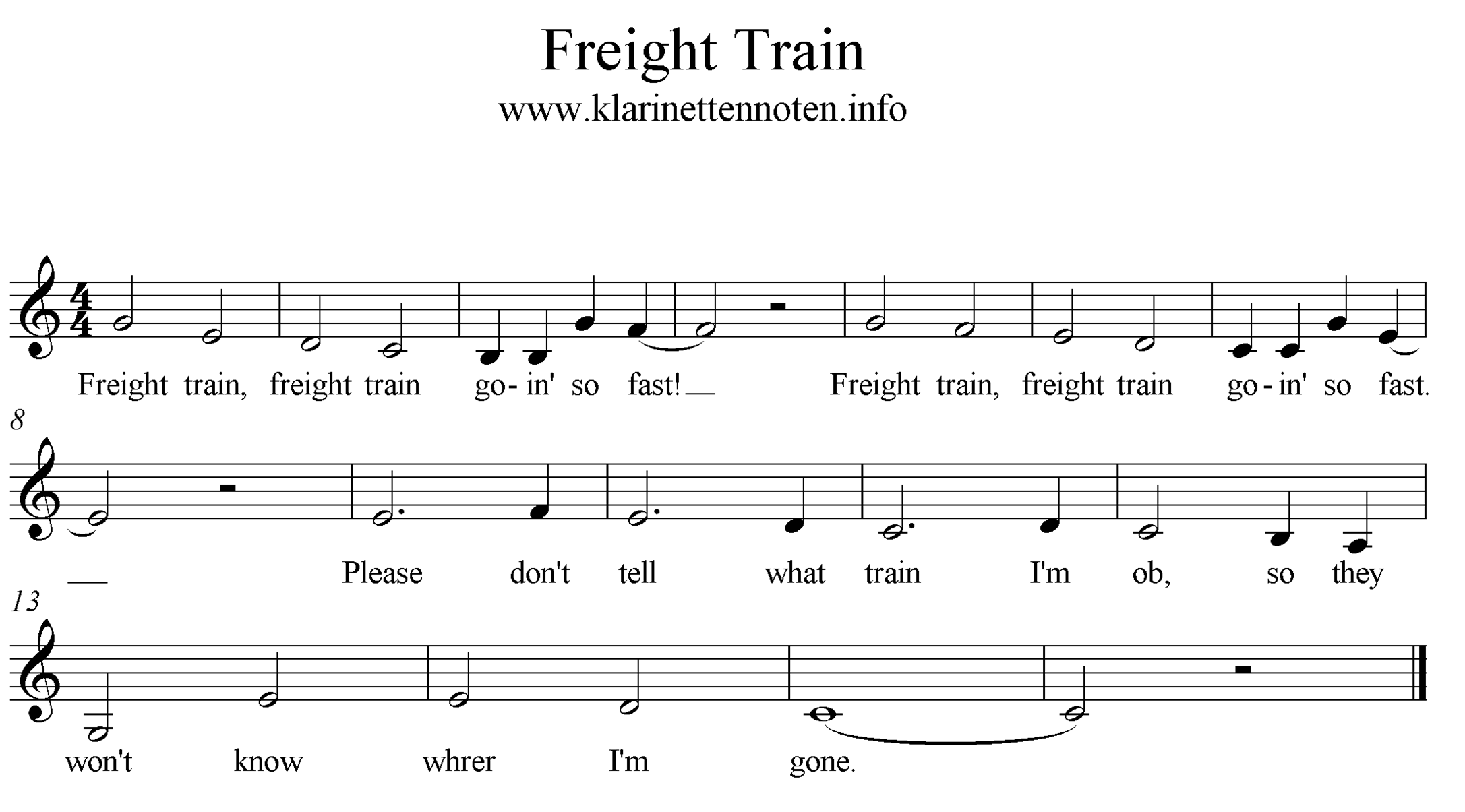 Freight Train freesheet music