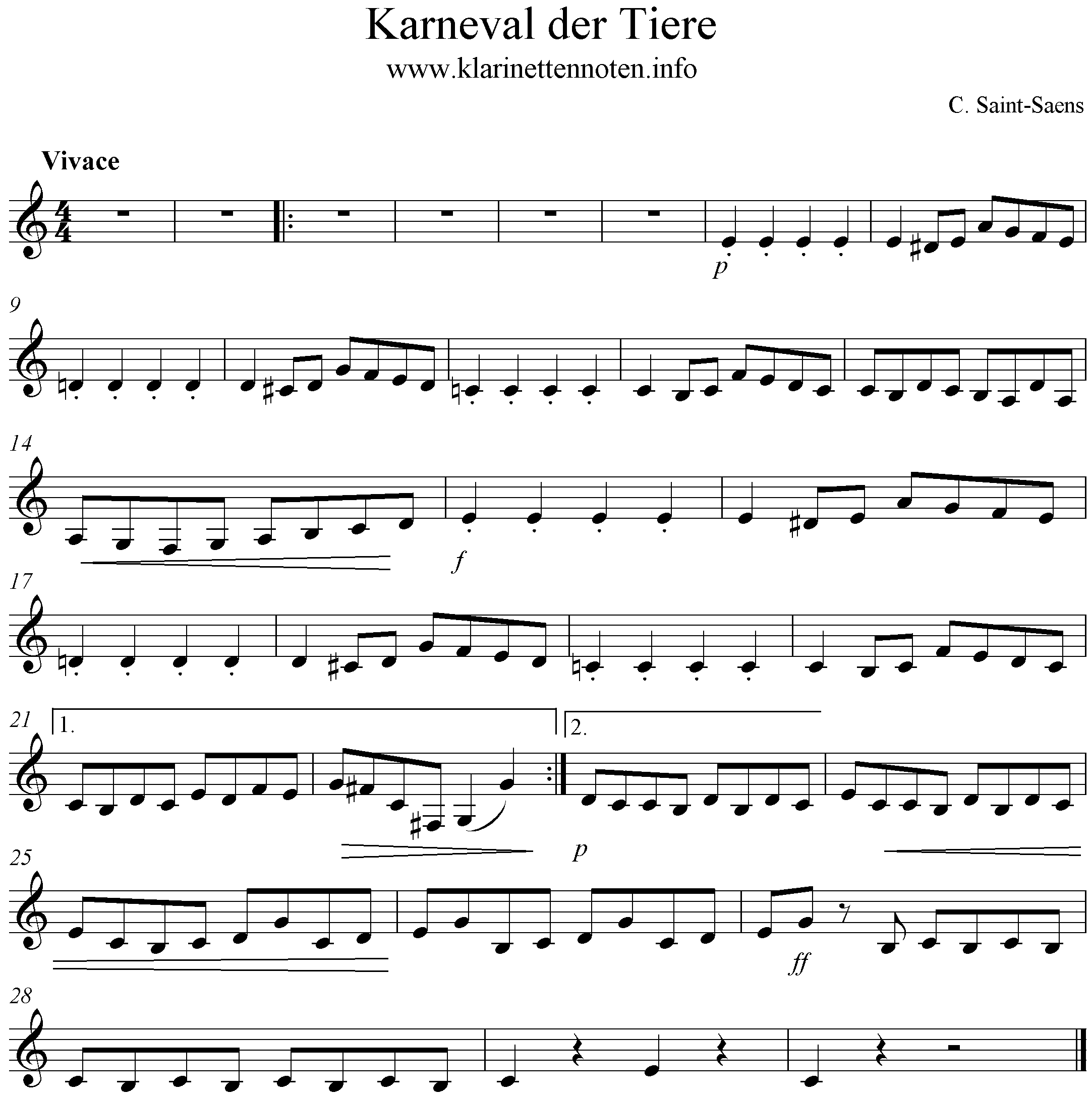 Freesheet Music , Score Carnival Of The Animals for Clarinet Beginners, Klarinette Anfänger