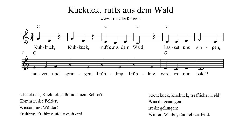 Trompetennoten, C-Dur, Kuckuck