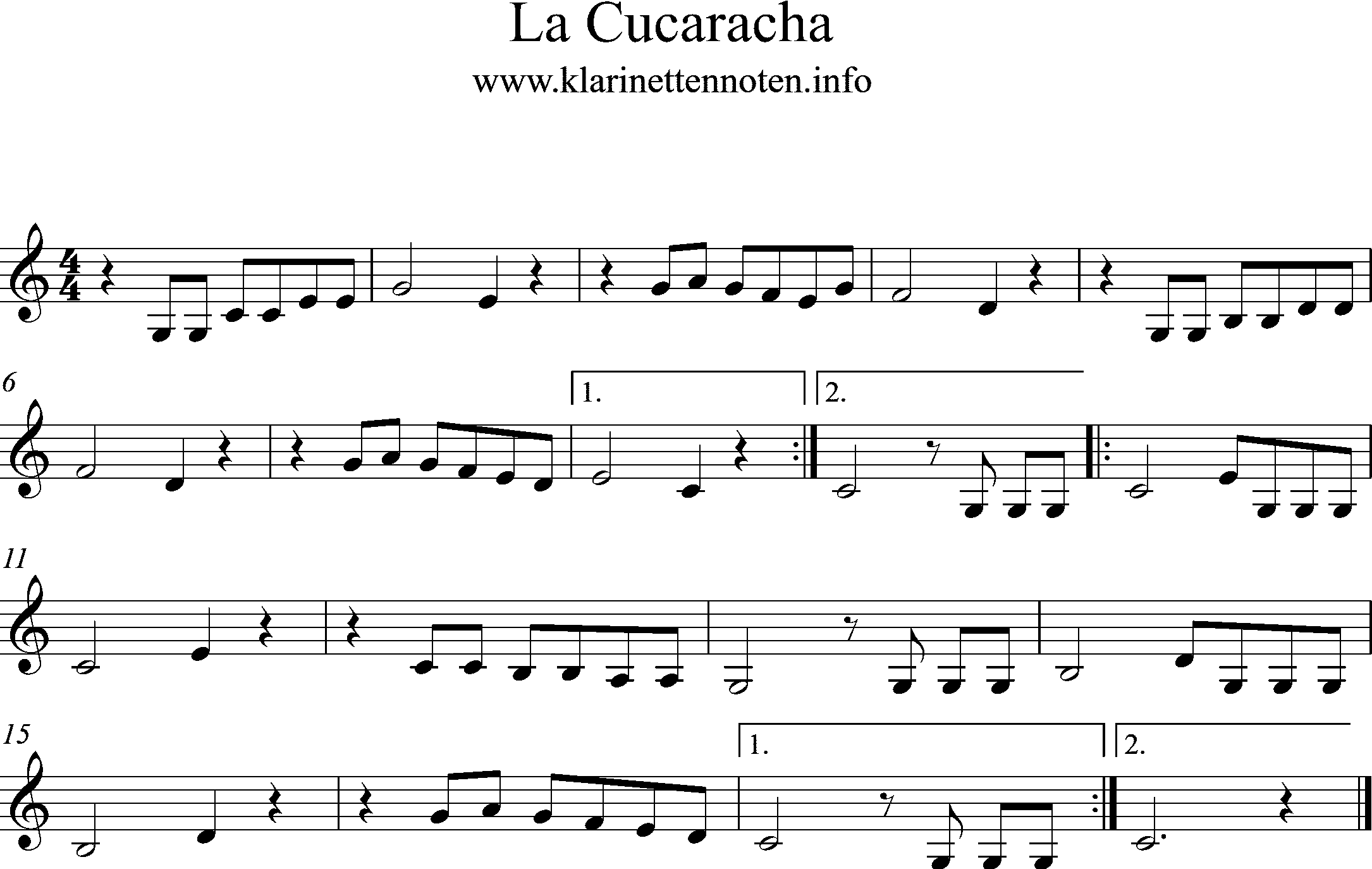 Noten La Cucaracha -Clarinet Easy