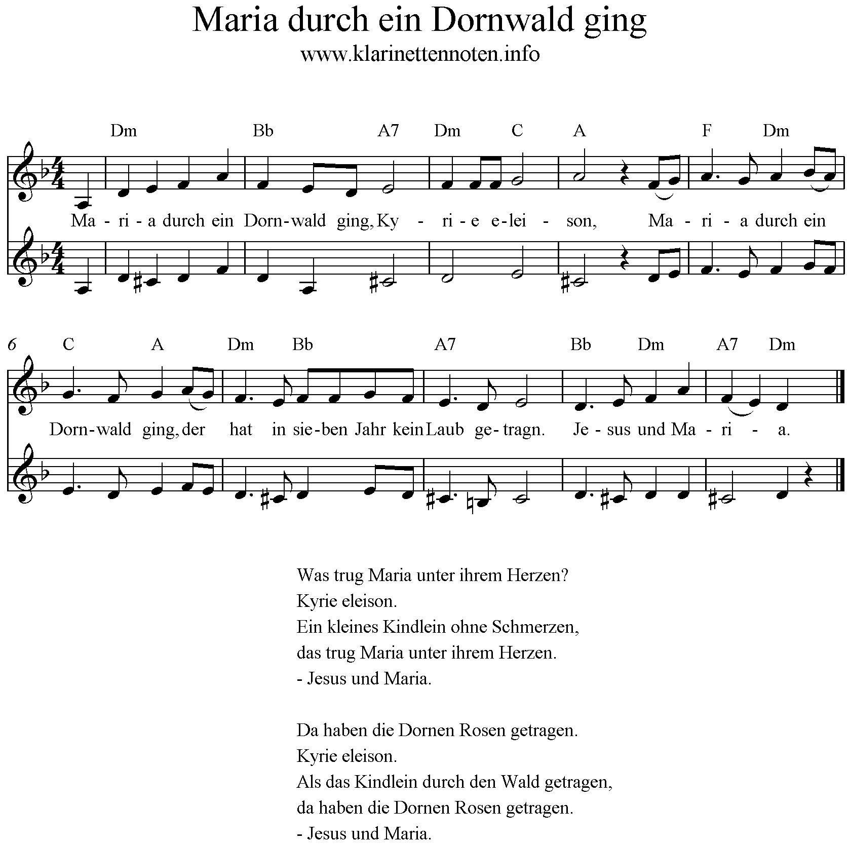 Text Maria Durch Ein Dornwald Ging