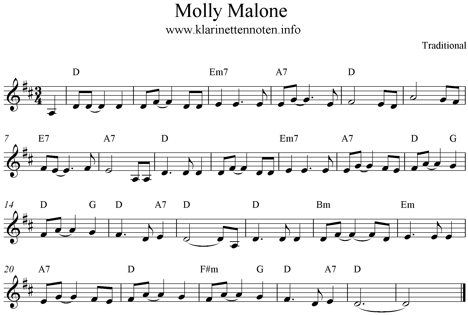 Molly Malone score for Clarinet D-Major