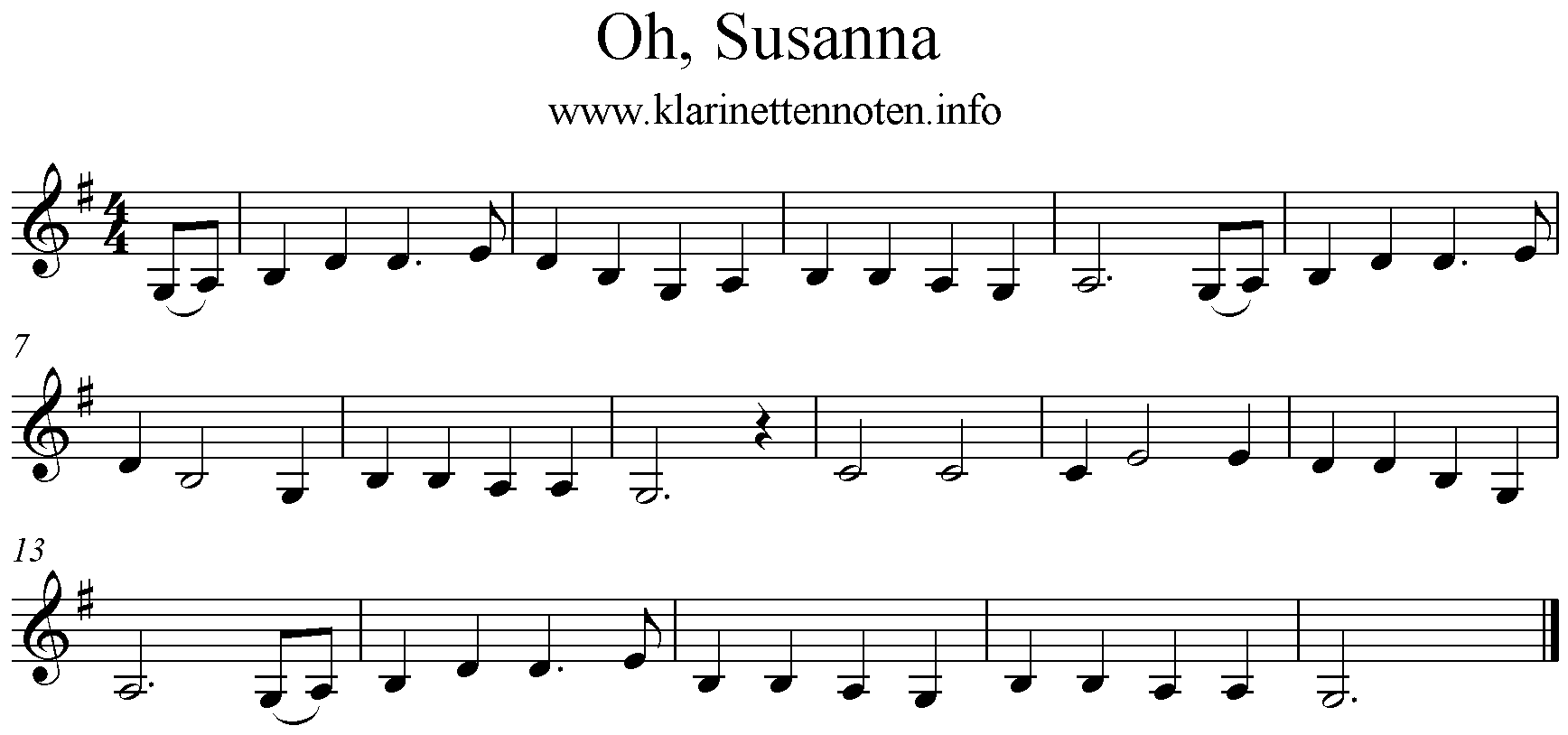 Oh Susanna, G-Major, Clarinet, Klarinette Noten