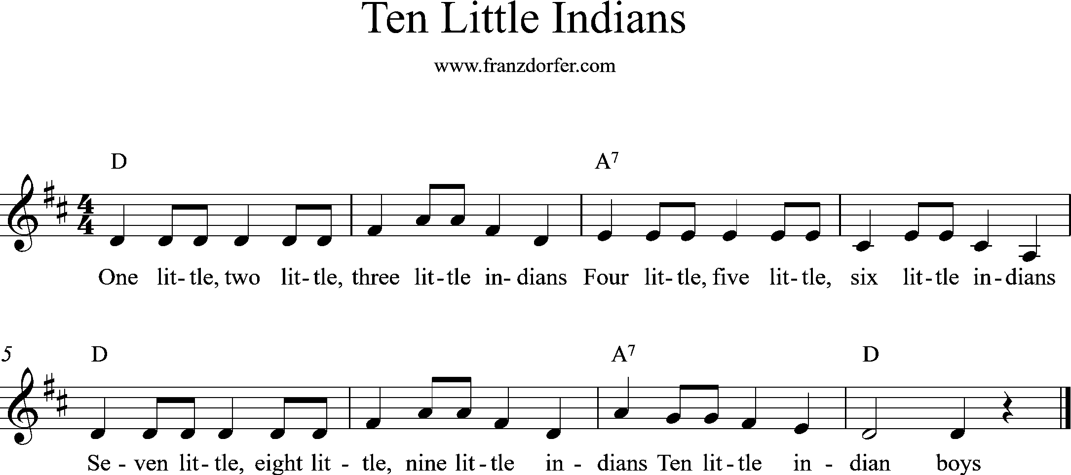 Ten little Indians, D-Major
