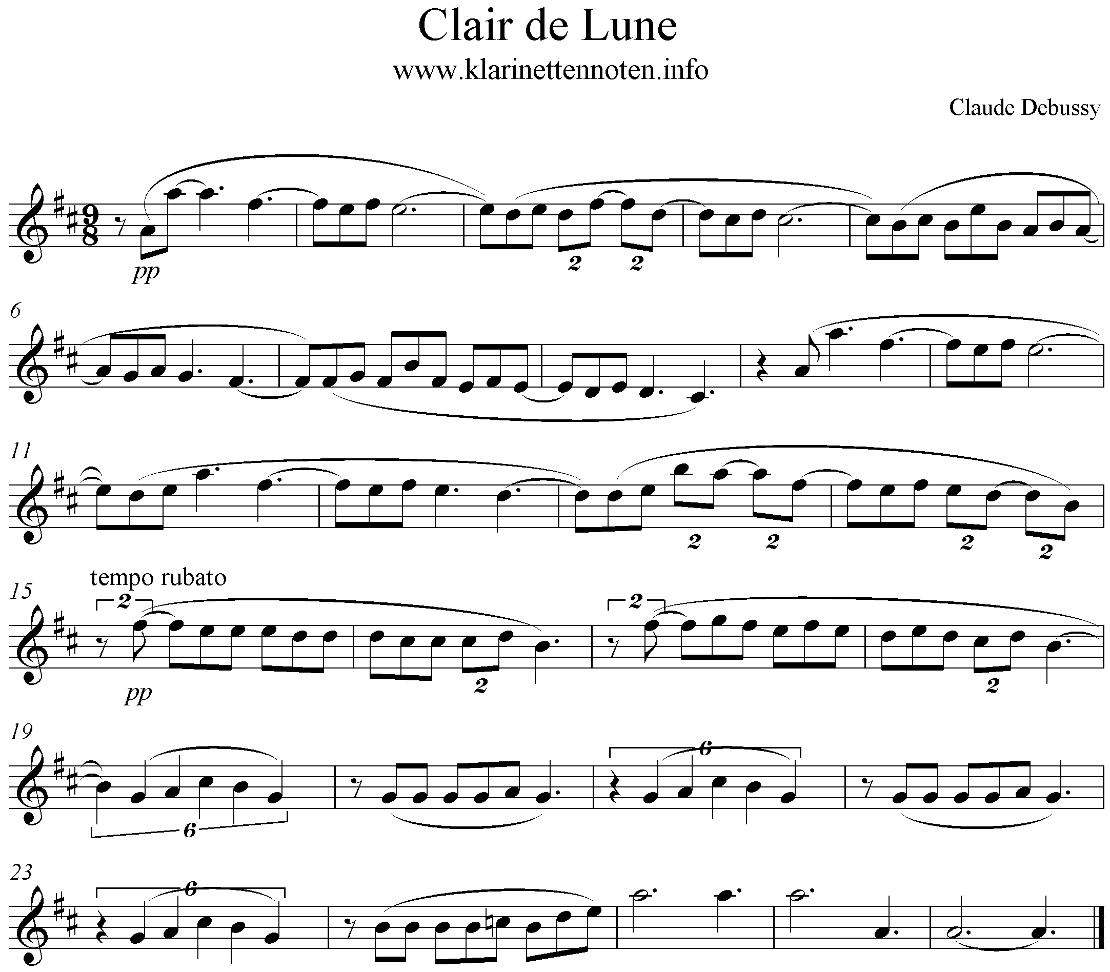 Clair de lune, Debussy, D-Major, Clarinet, Solo, Klarinette
