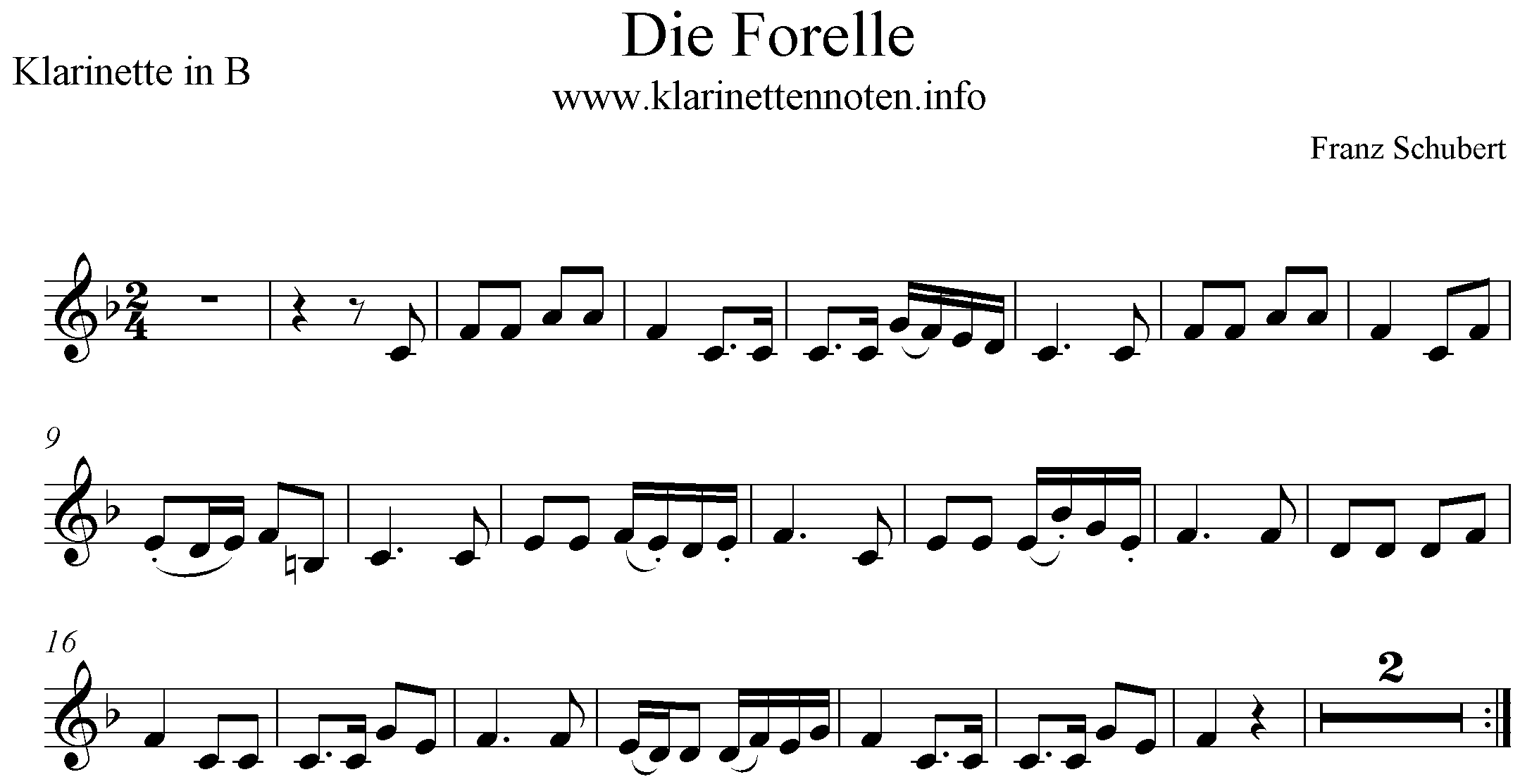 Die Forelle freesheet for Clarinet, Noten Klarinette