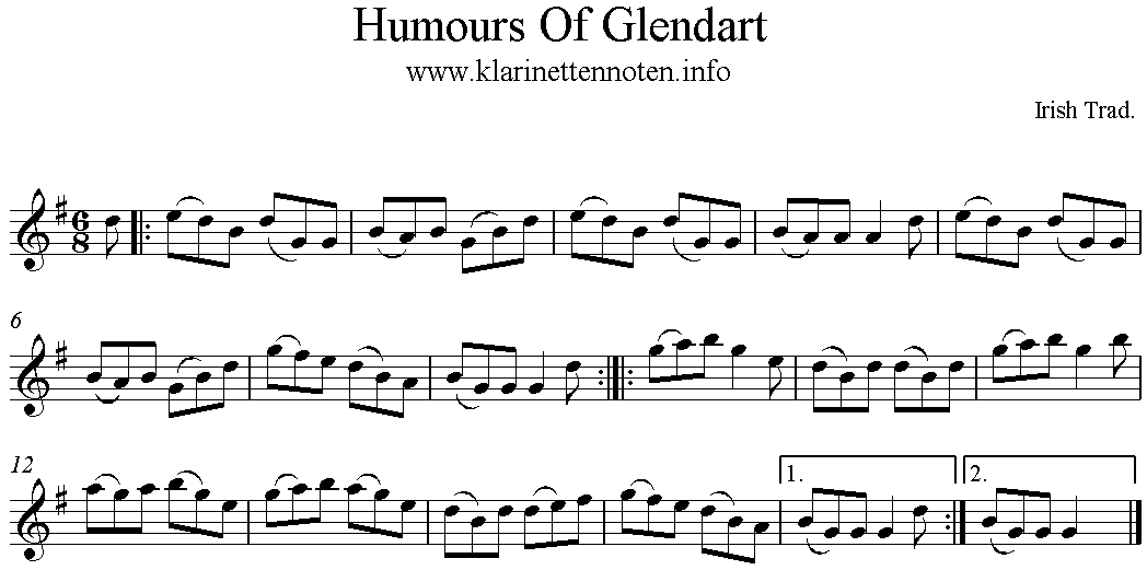 Humours of Glendart freescore G-Major, G-Gur, Klarinette