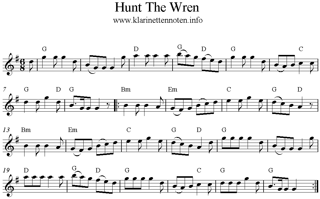 Hunt The Wren, Freesheet Music, G-Major, Clarinet