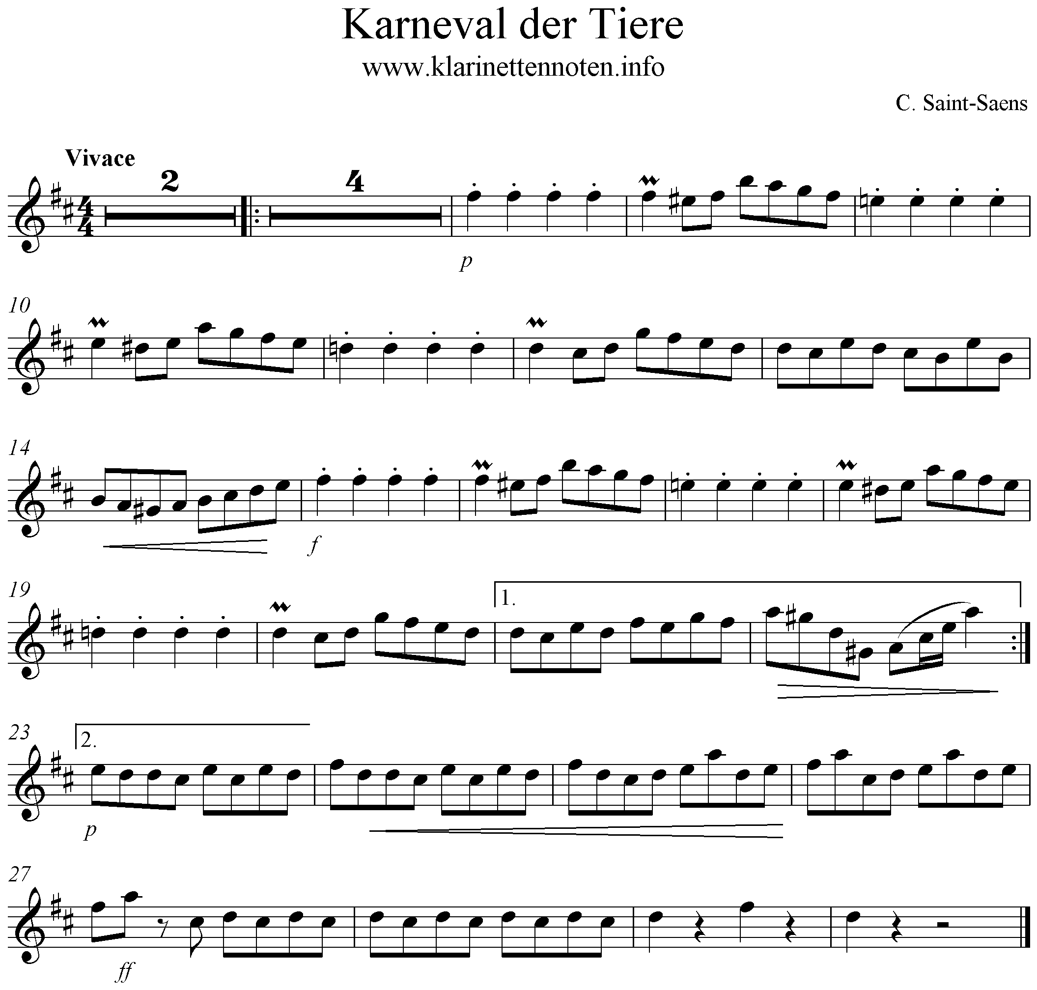 Carnival of The Animals - Clarinet Sheet Music