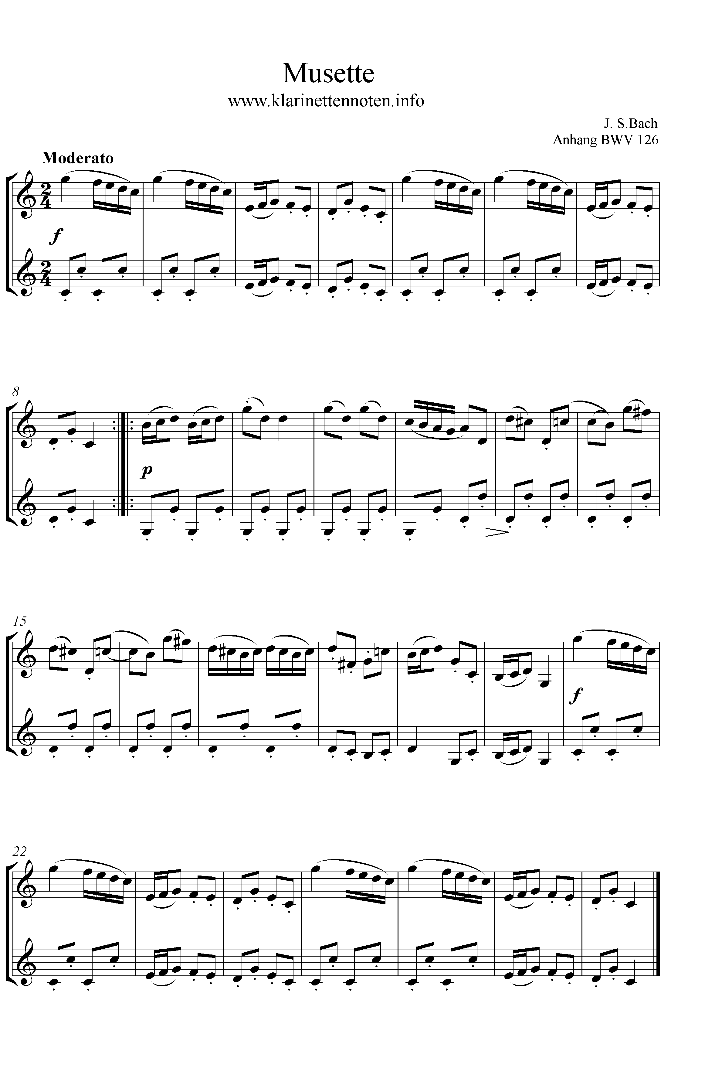 Musette Note, BWV 126 Anhang, Familie Petz, Noten