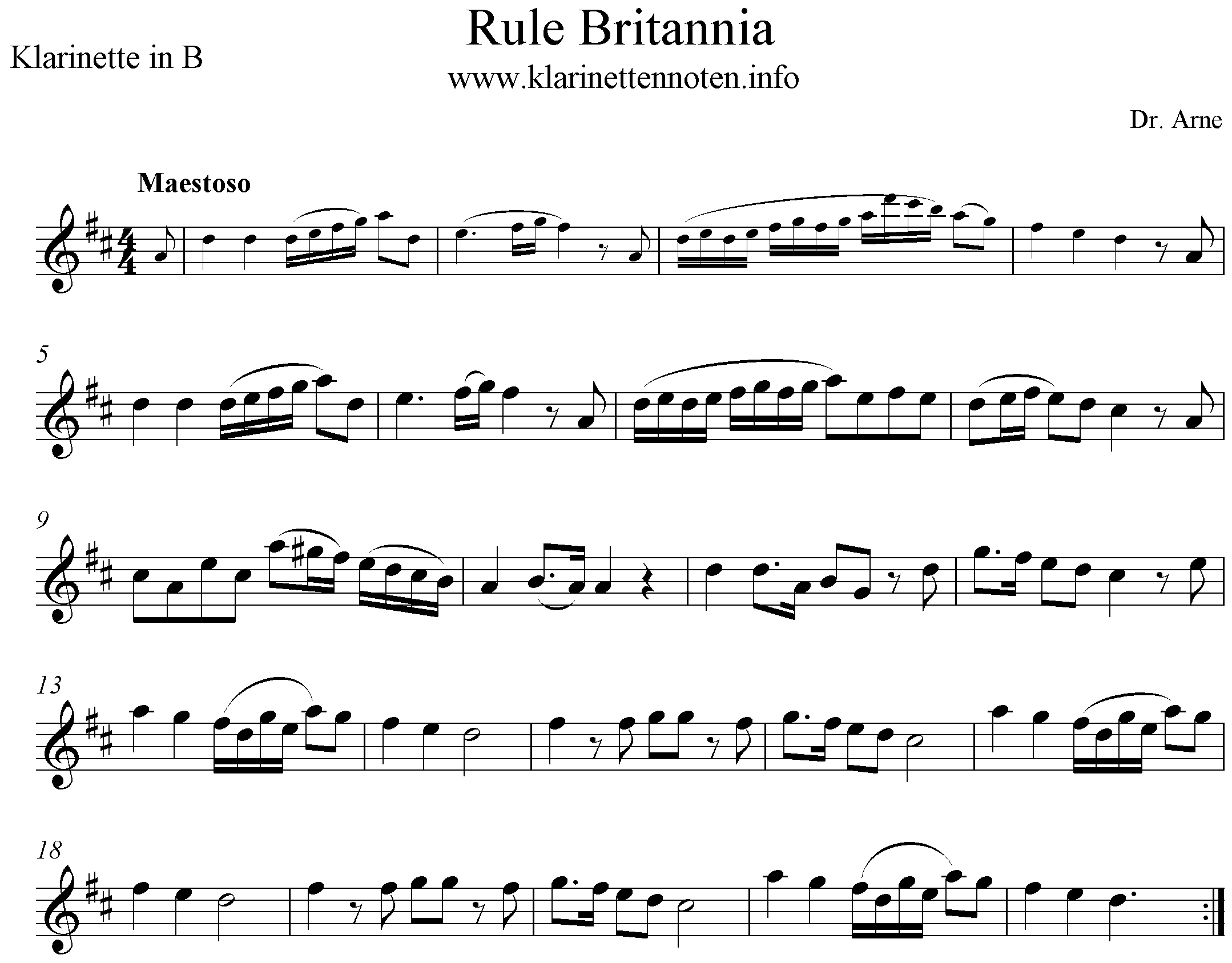 Rule Britannia, D-Major, Clarinet, Klarinette