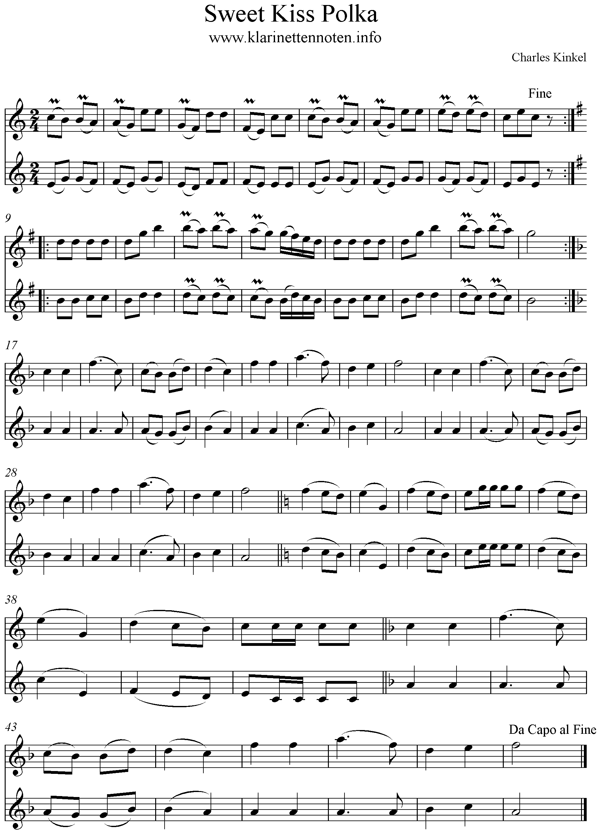 Sweet Kiss Polka Musicsheet for Clarinet Klarinettennoten, Duo