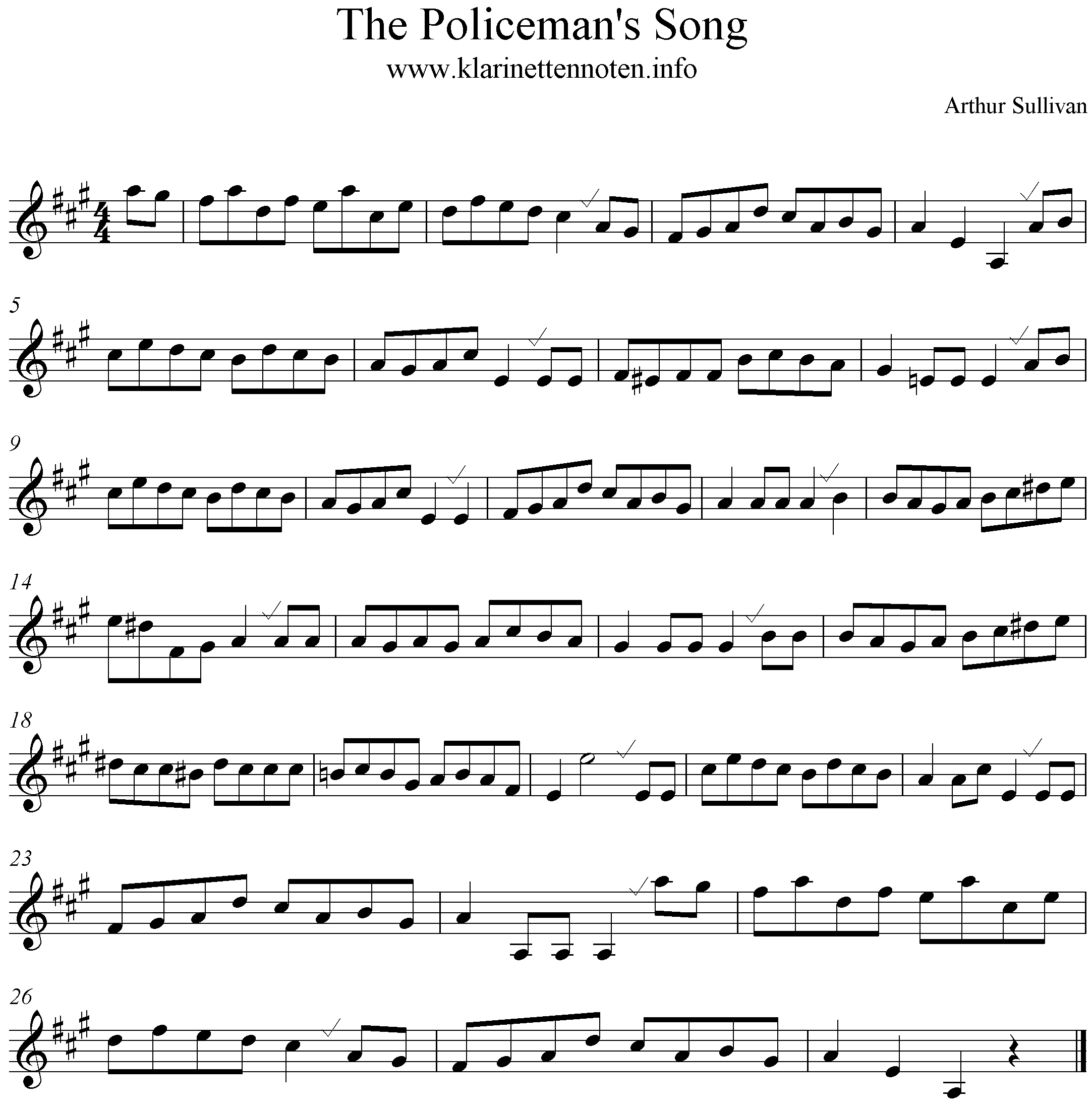 The Policemans Song, Sullivan, A-Major