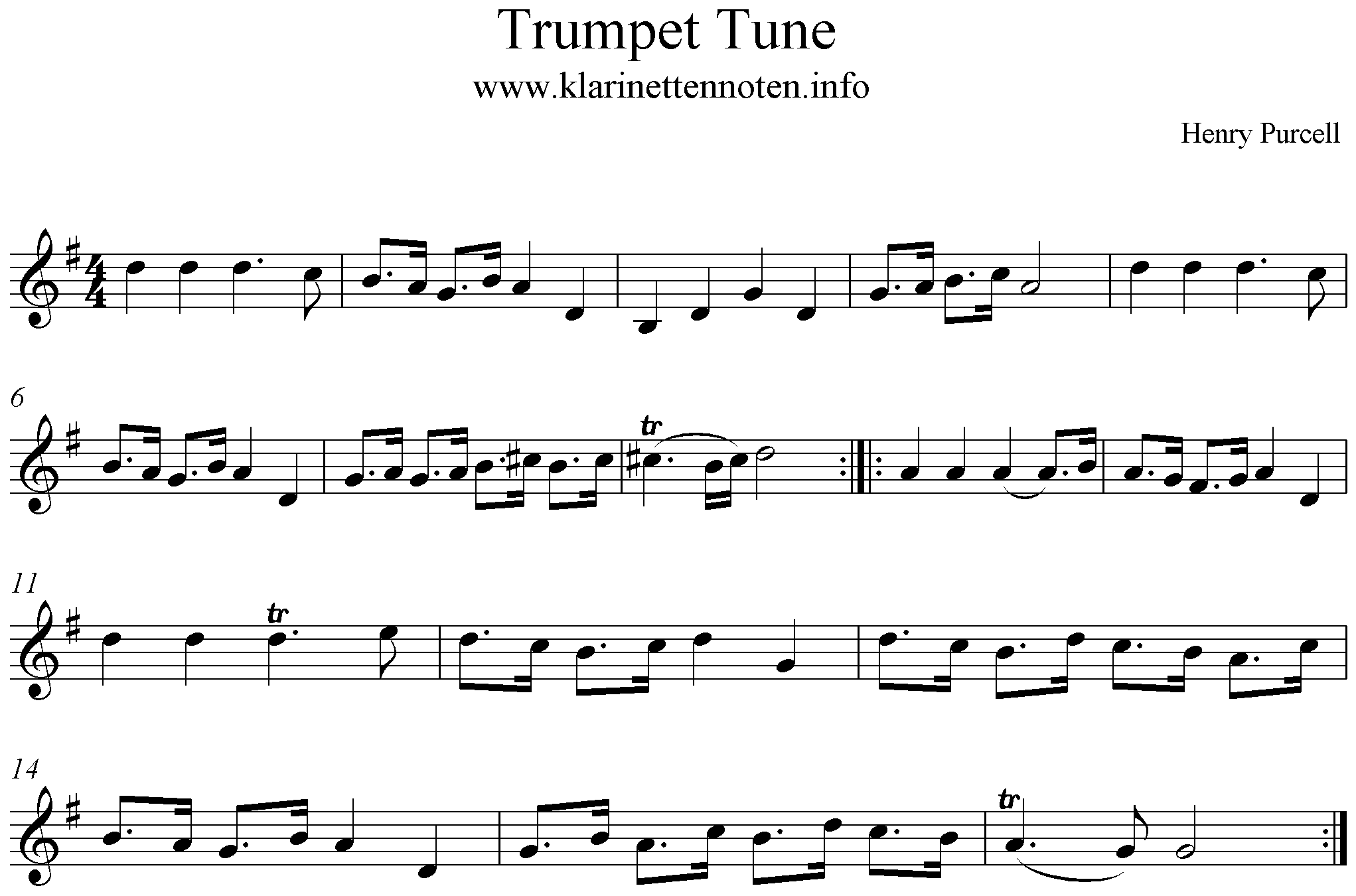 Trumpet Tune - Freesheet music Clarinet