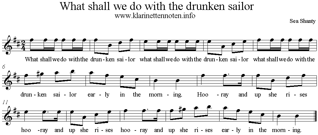 What Shall We Do with The Drunken Sailor, A-Minor, Clarinet, Klarinette
