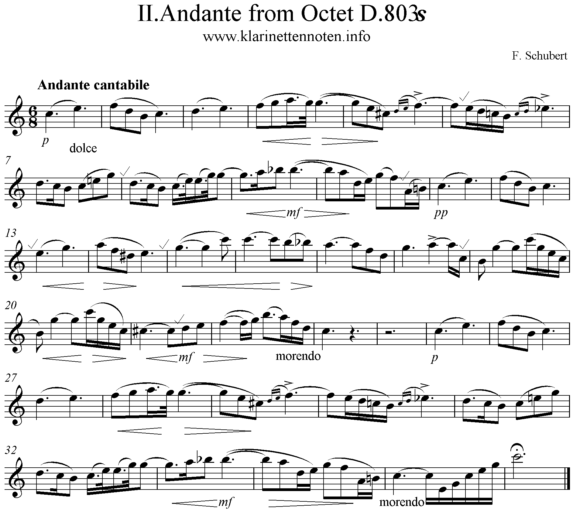 Preghiera, Andante from Octet Schubert  D803