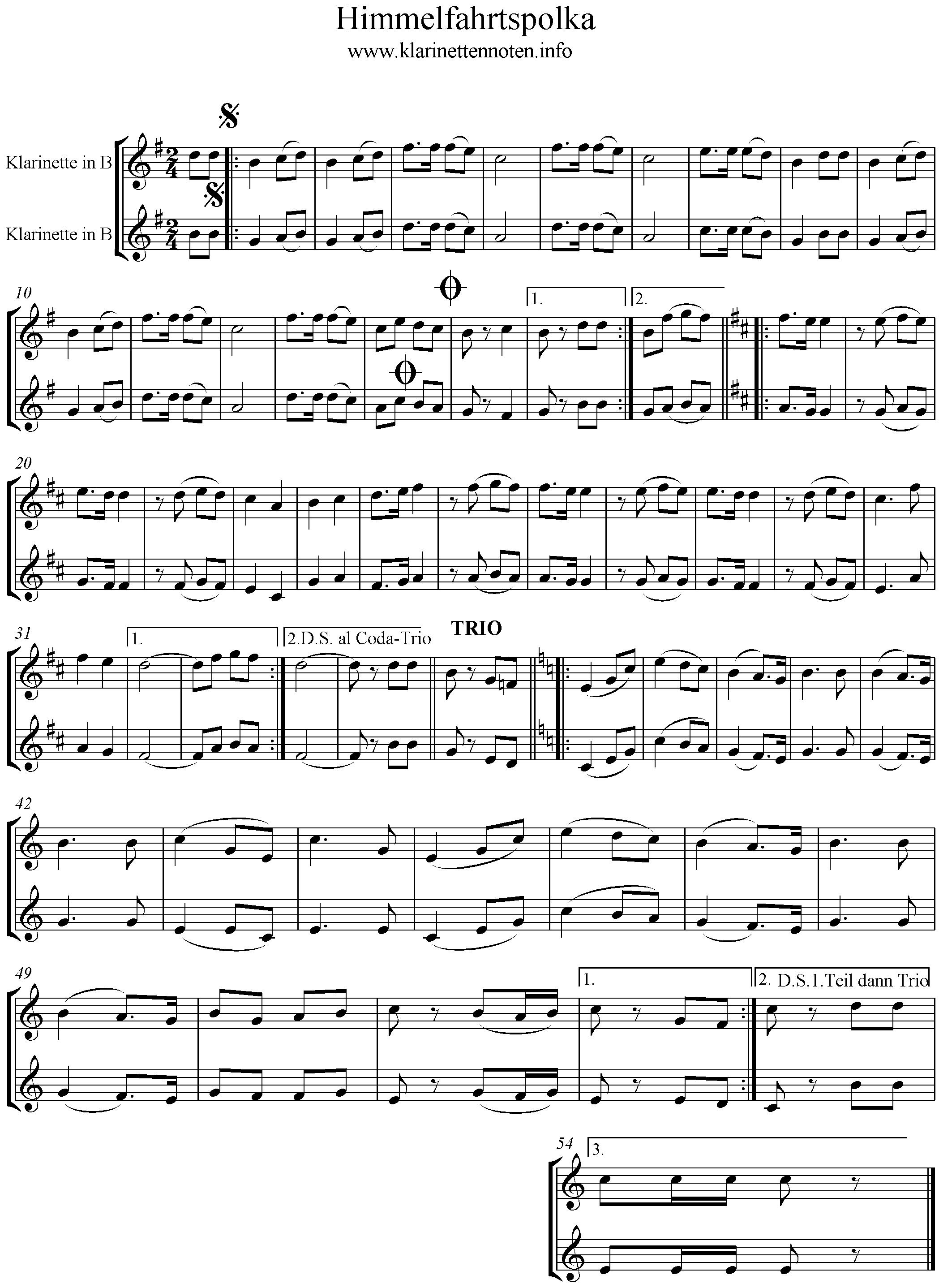 Klarinettennoten-Himmelfahrtspolka