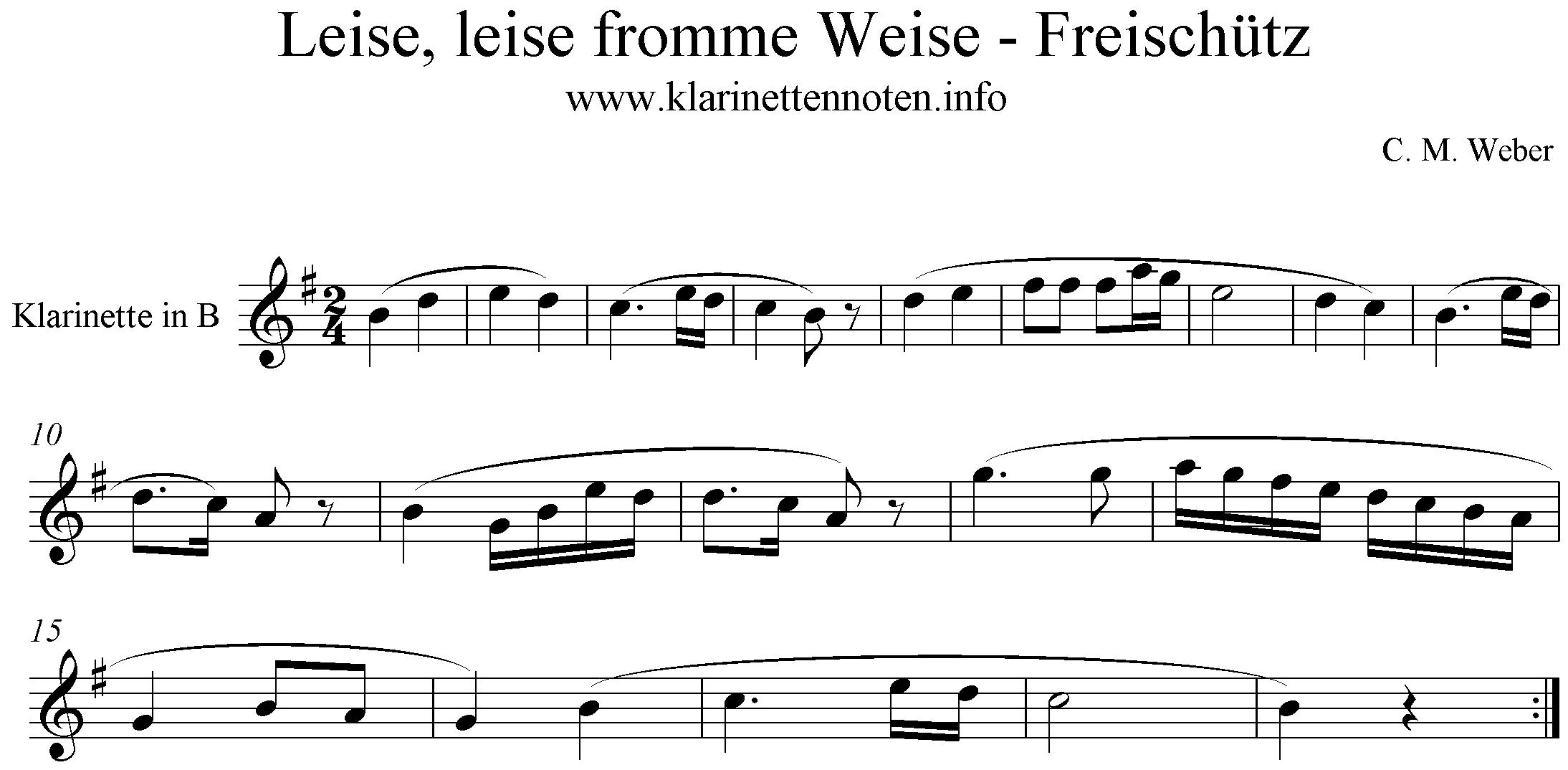 noten- C. M. Weber- Der Freischütz, Leise leise fromme Weise