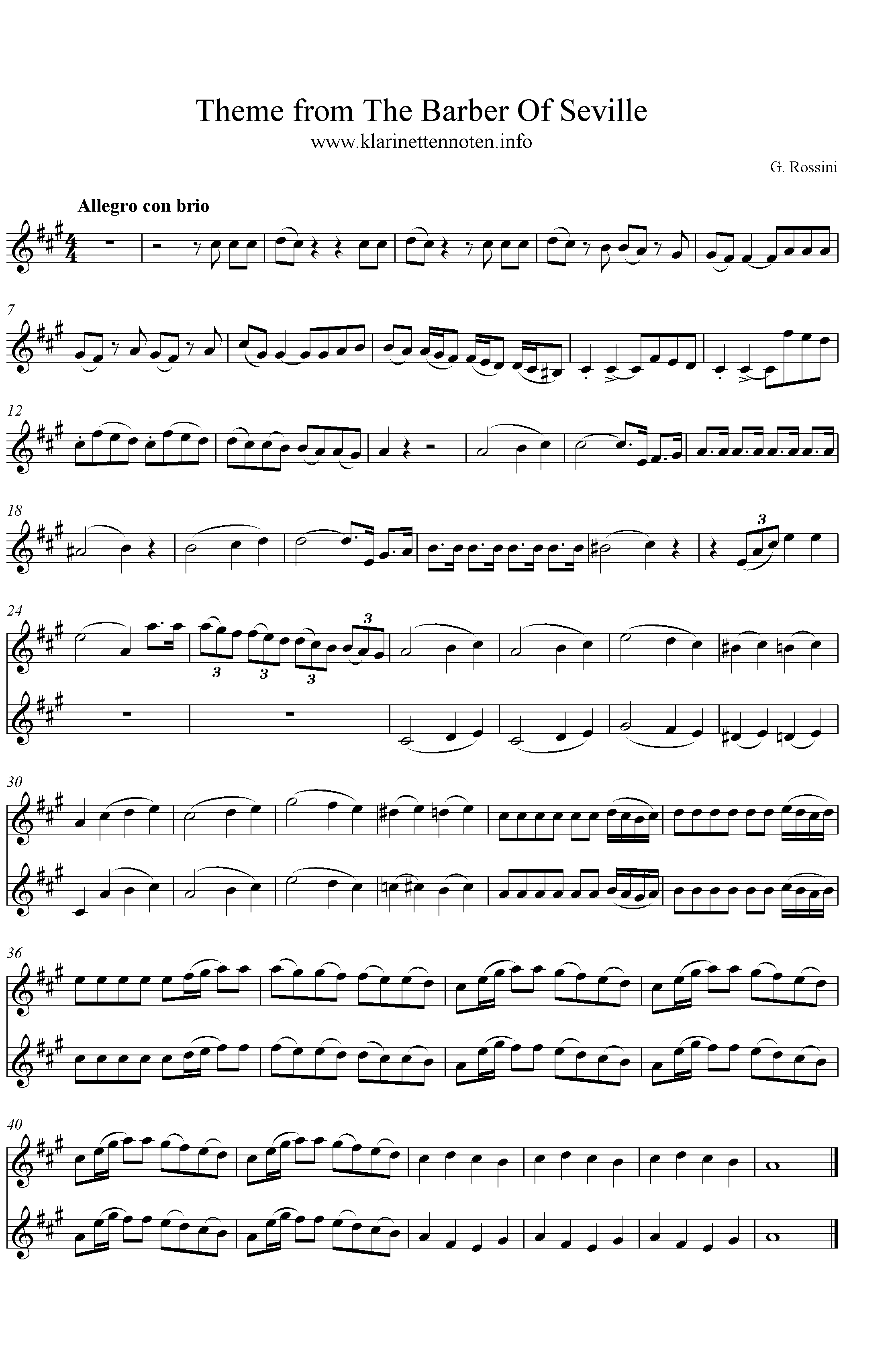 Theme from The Barber Of Sevilee, A-Major