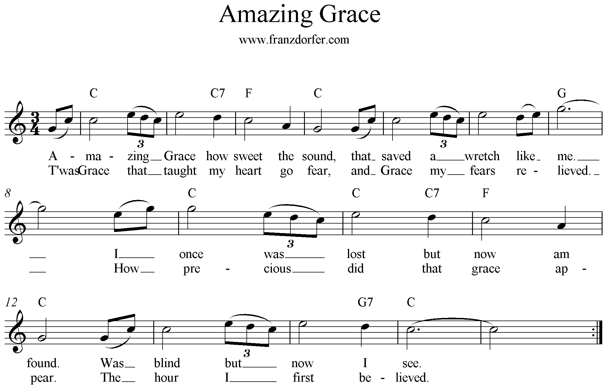 Amazing Grace, C-Major