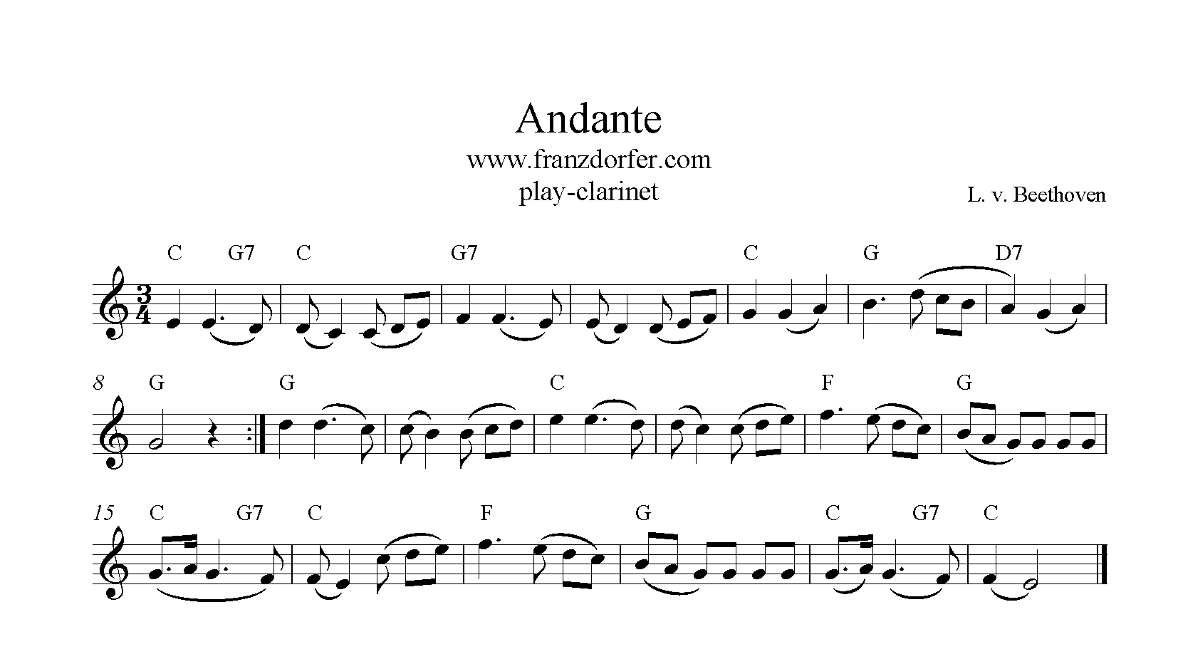Andante Beethoven freesheetmusic for Clarinet