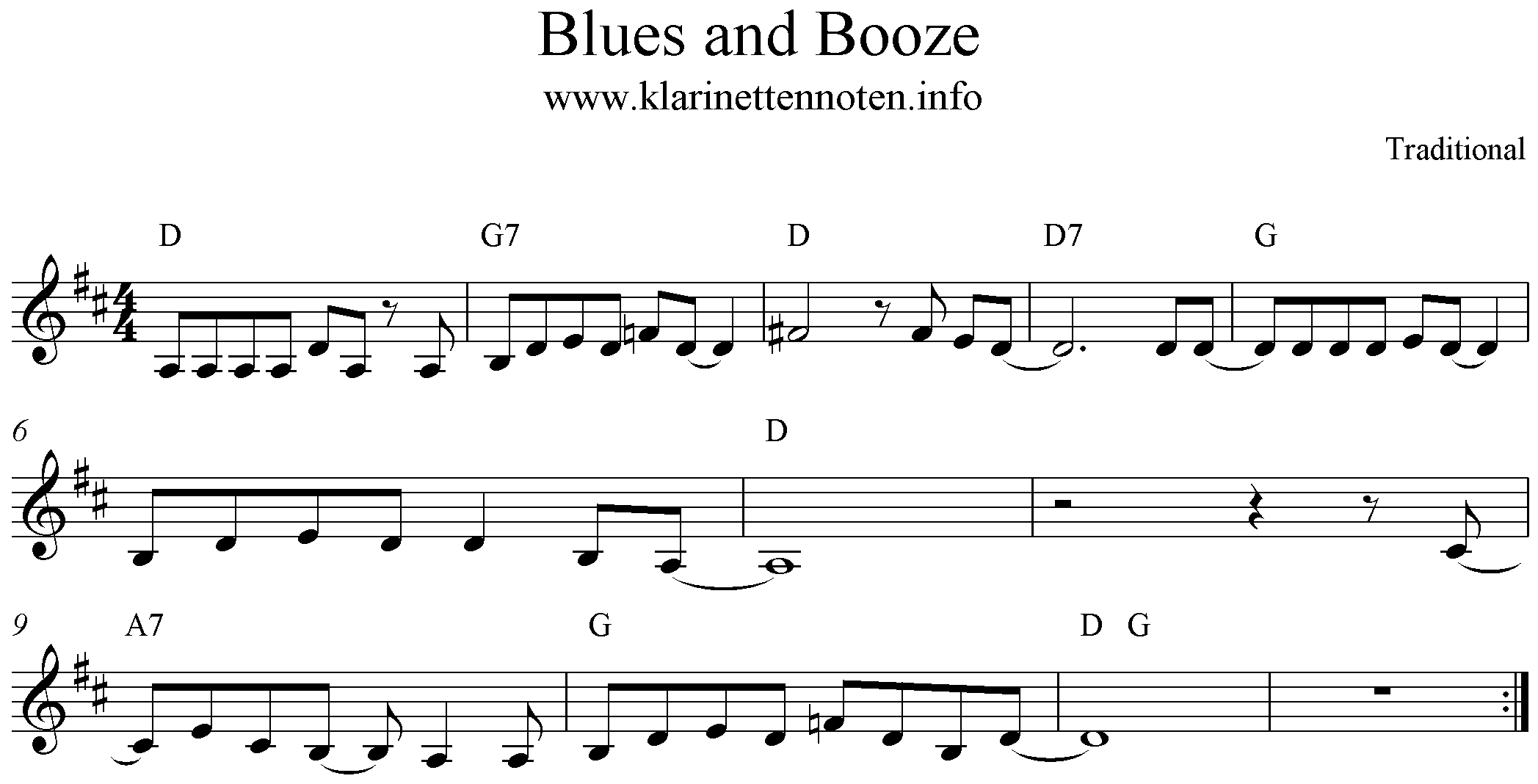 Freesheetmusic Blues and Booze, D-Major