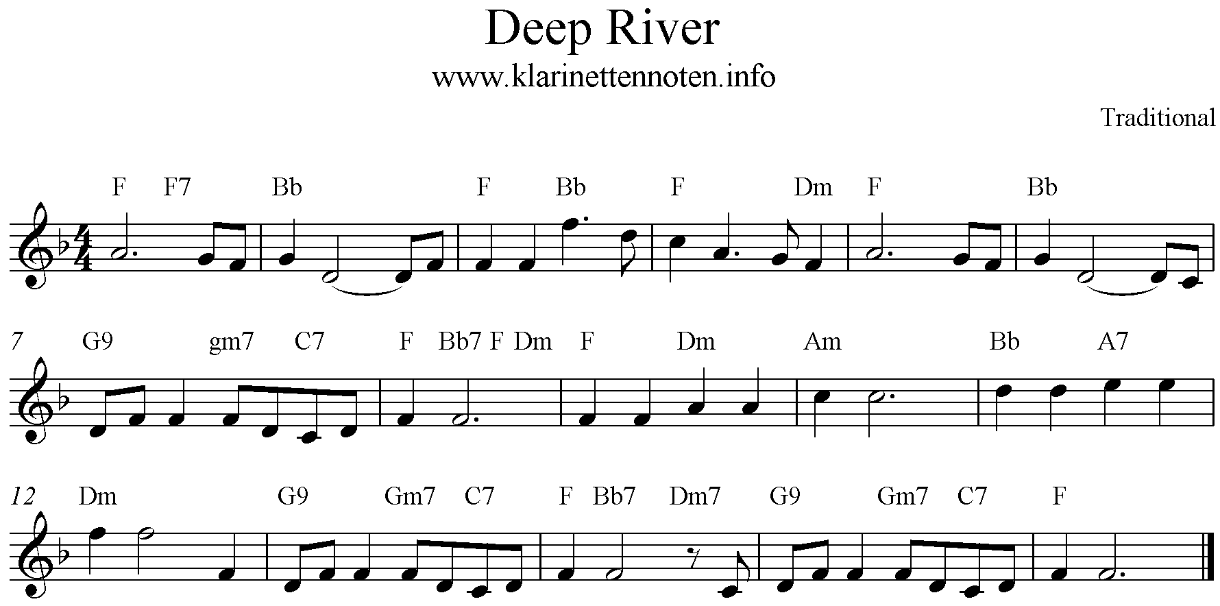 Deep River, Freesheetmusic, F-Major