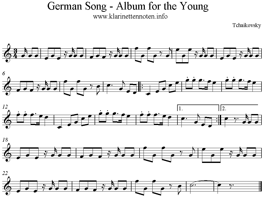 German Song, Tchaikovsky, Album for the Young