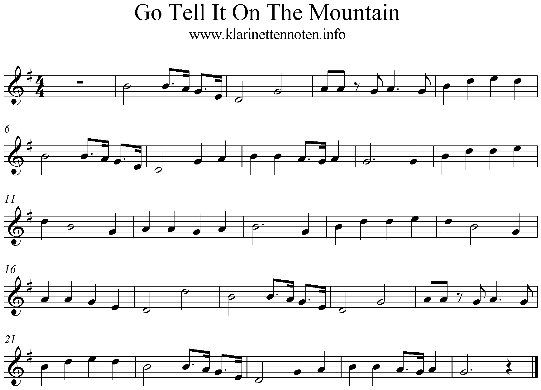 Go Tell it To The Mountain- Klarinettennoten, G-Dur, Clarinet freesheetmusic