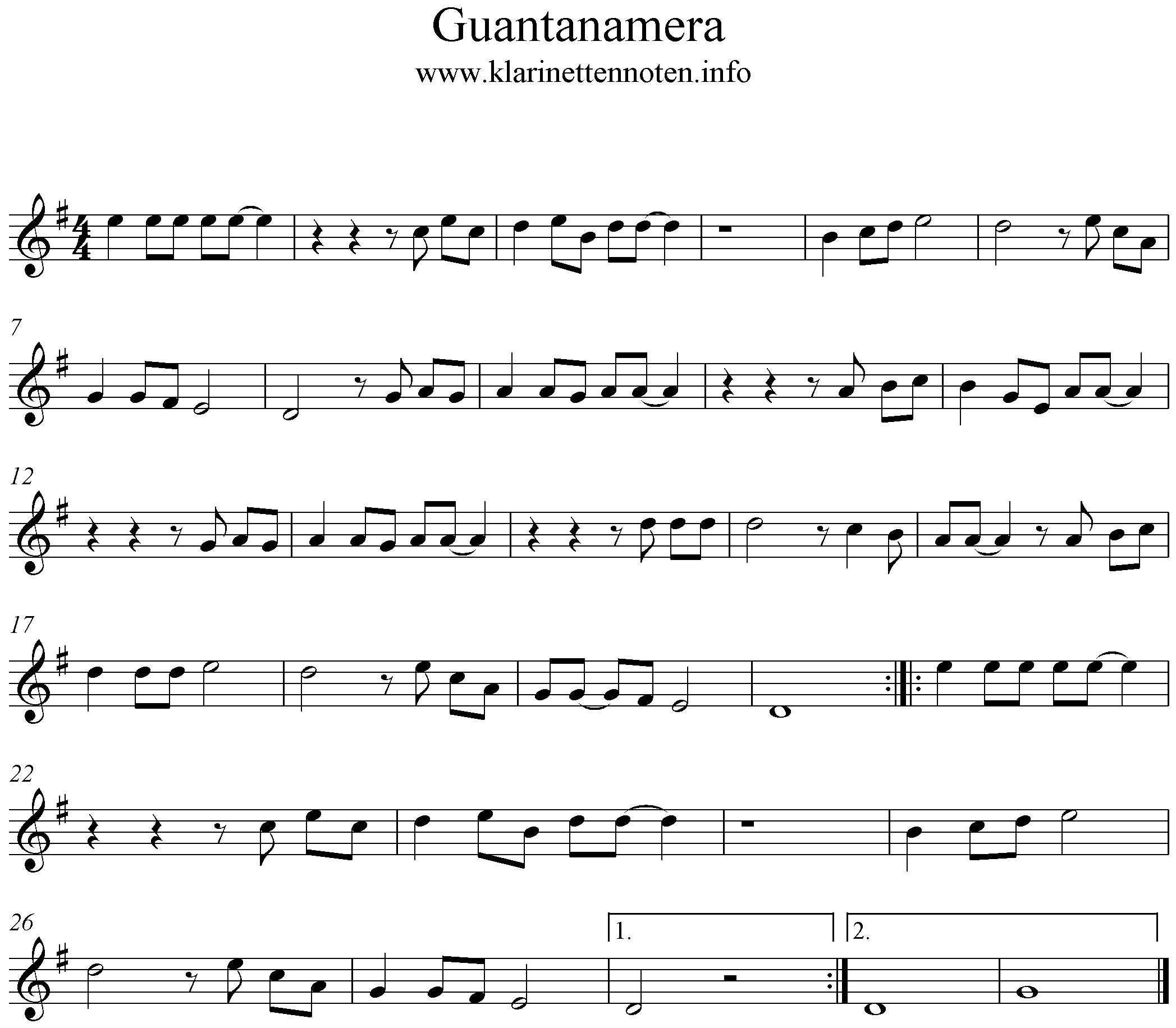 Guantanamera Noten für Klarinette, Clarinet, G-Major