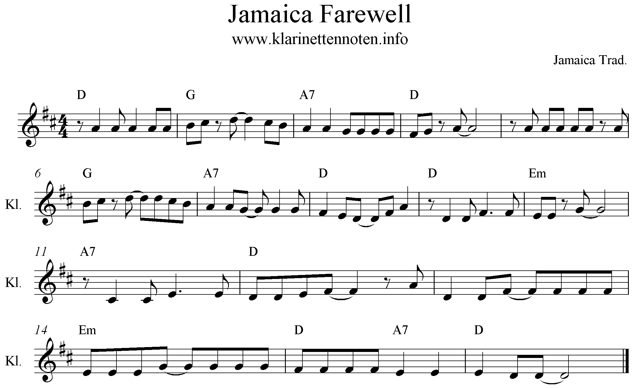 sheetmusic Jamaica Farewell, D-Dur, D-Major, Clarinet