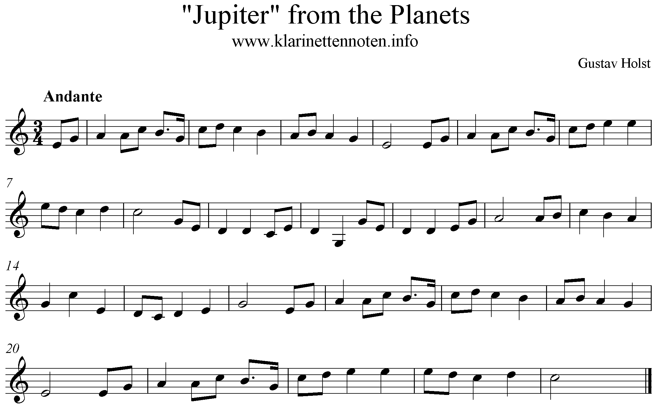 Jupiter from the Planest , C-Major, Clarinet, freesheetmusic