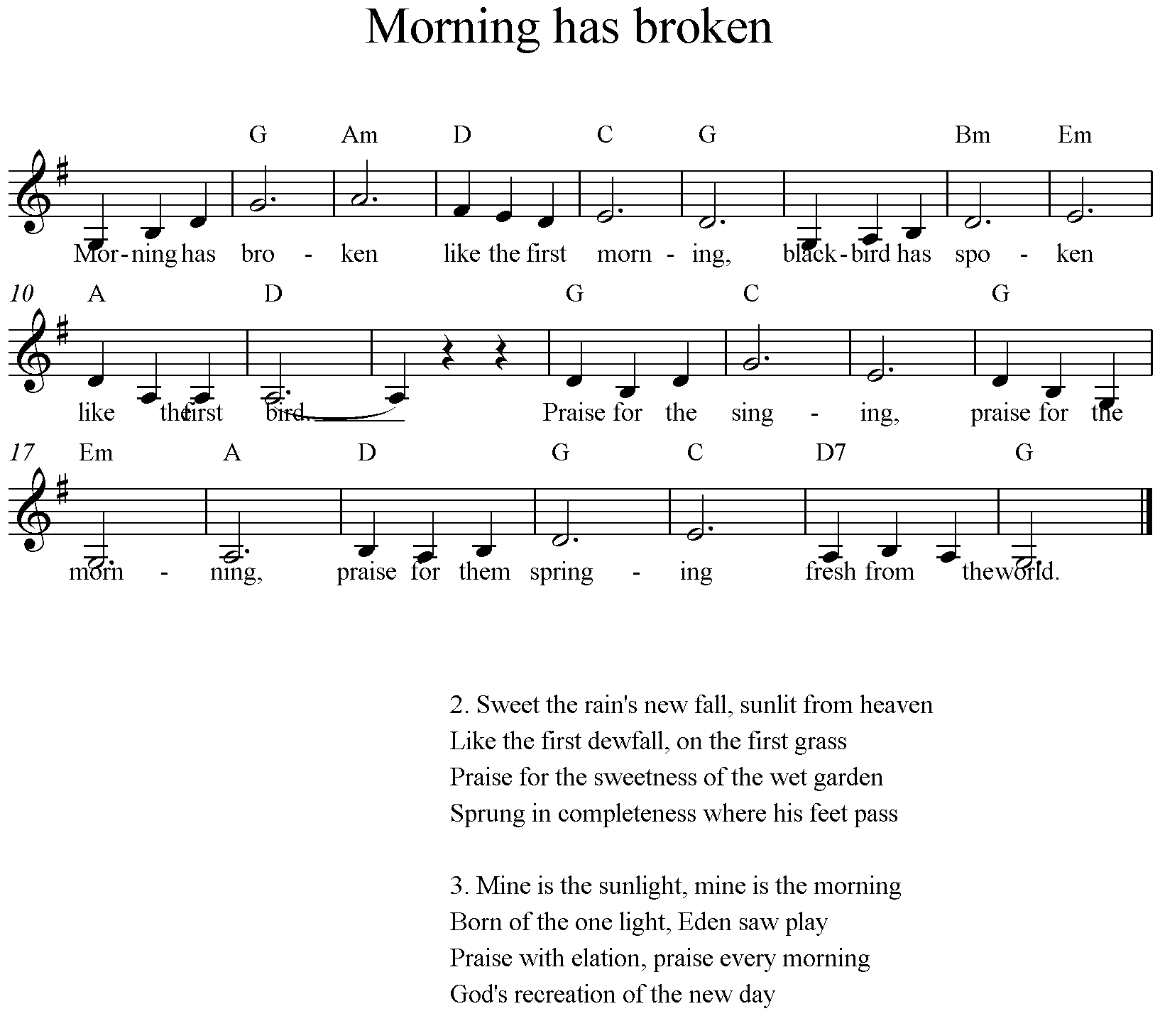 Morning has broken, G-Major, low, clarinet