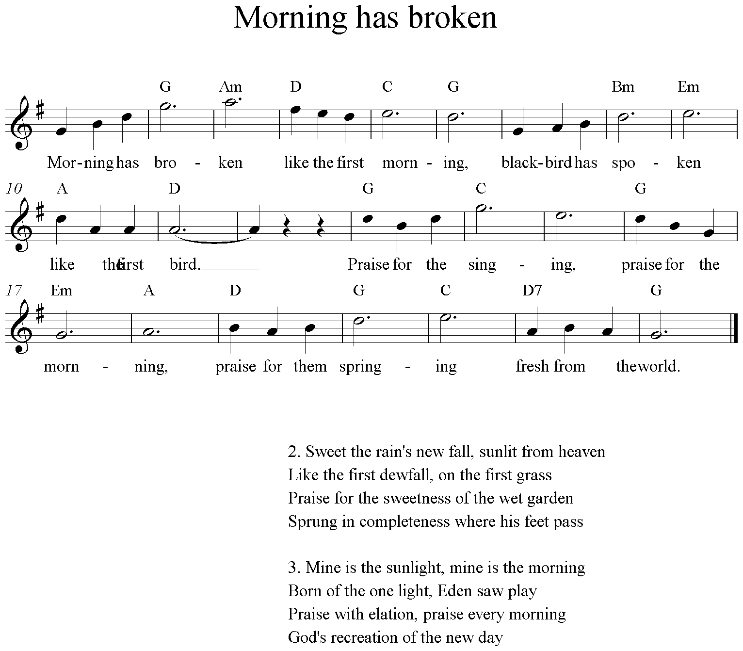 Morning has broken, Clarinet, G-Major