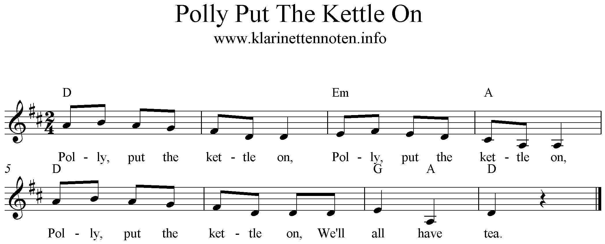 Polly Put The Kettle On, D-Major, Clarinet