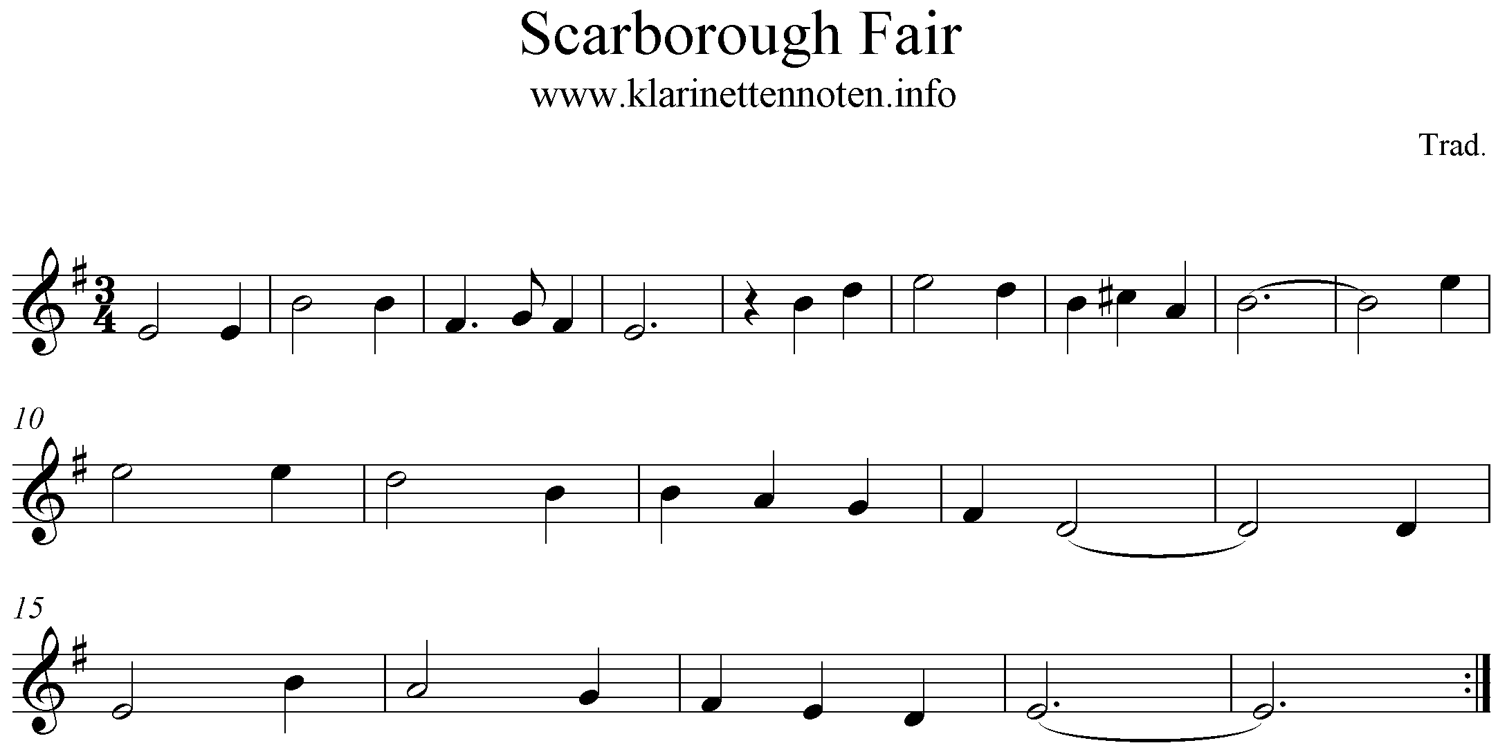 score, freesheet music Scarborough Fair, Clarinette, Em