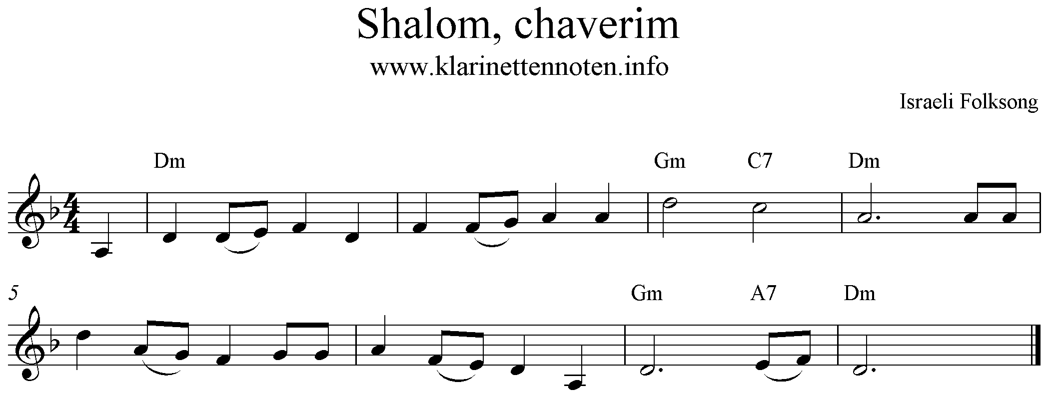 Noten, freesheetmusic, Shalom chaverim, d-minor, d-moll
