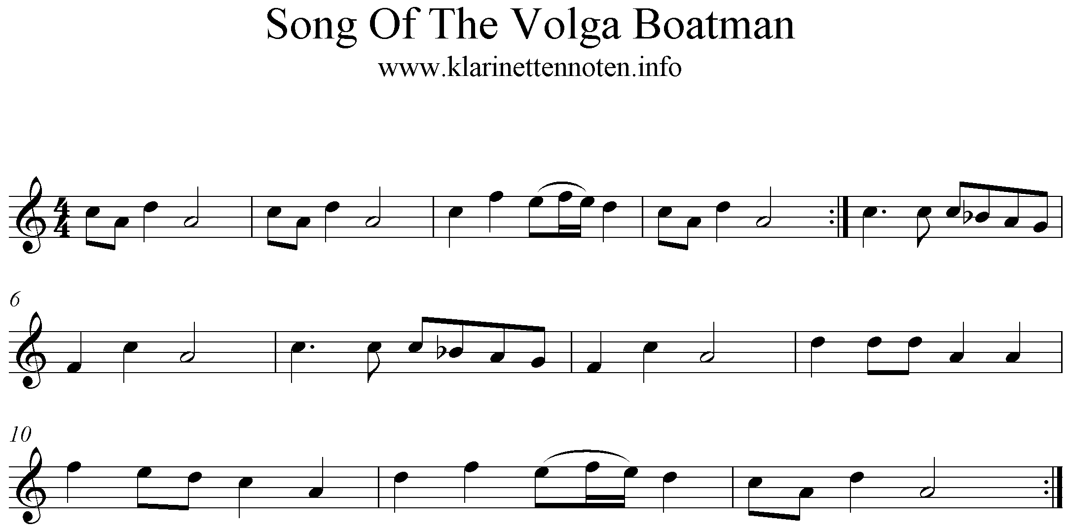 Song Of The Volga Boatman - Klarinette, Clarinet