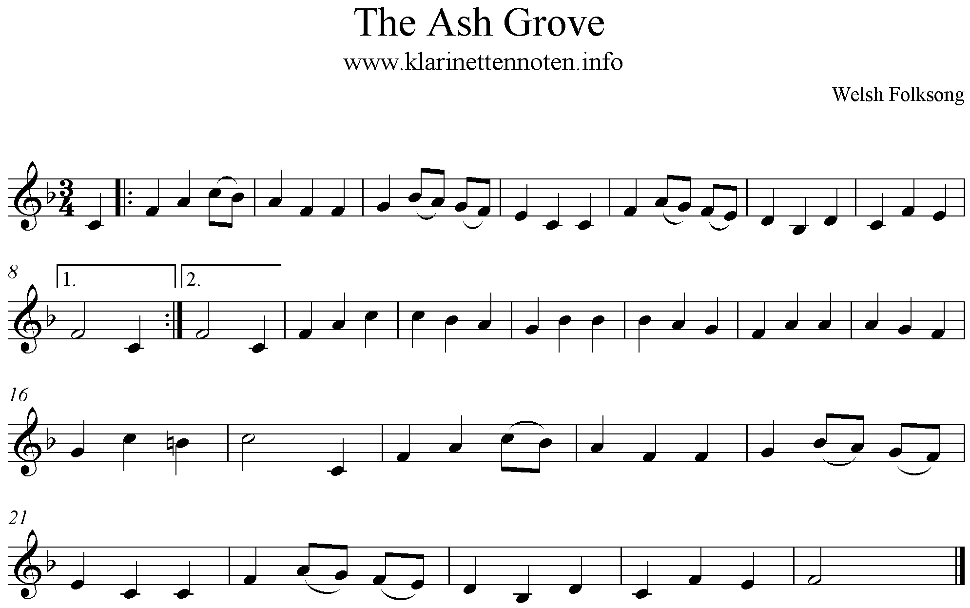 The Ash Grove, Freesheet Music, Clarinet, F-Major