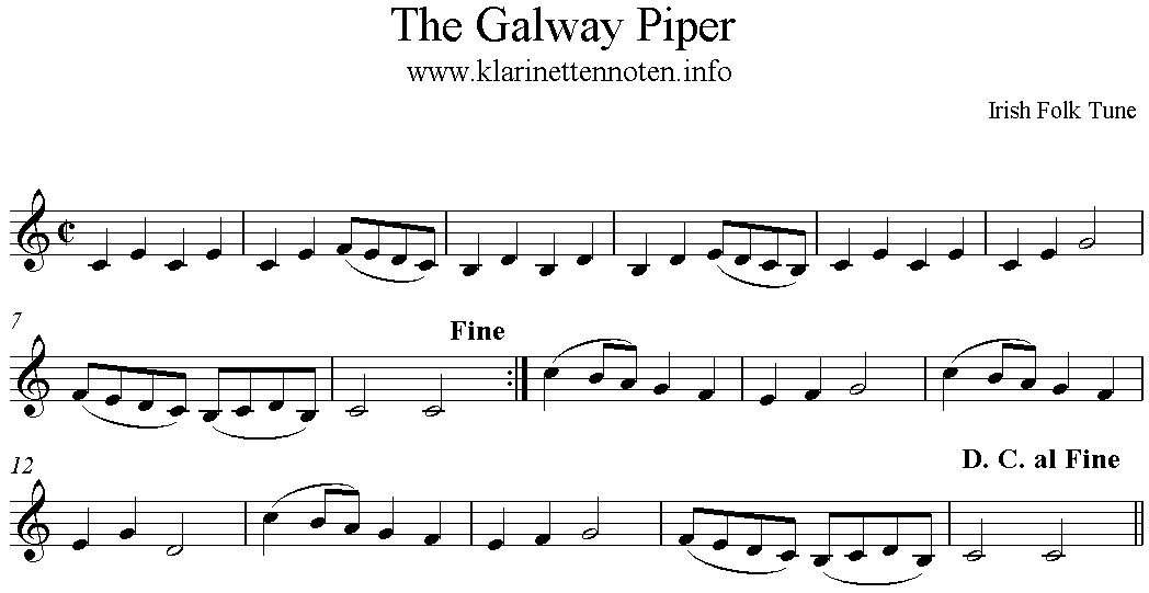 Play Clarinet The Galway Piper