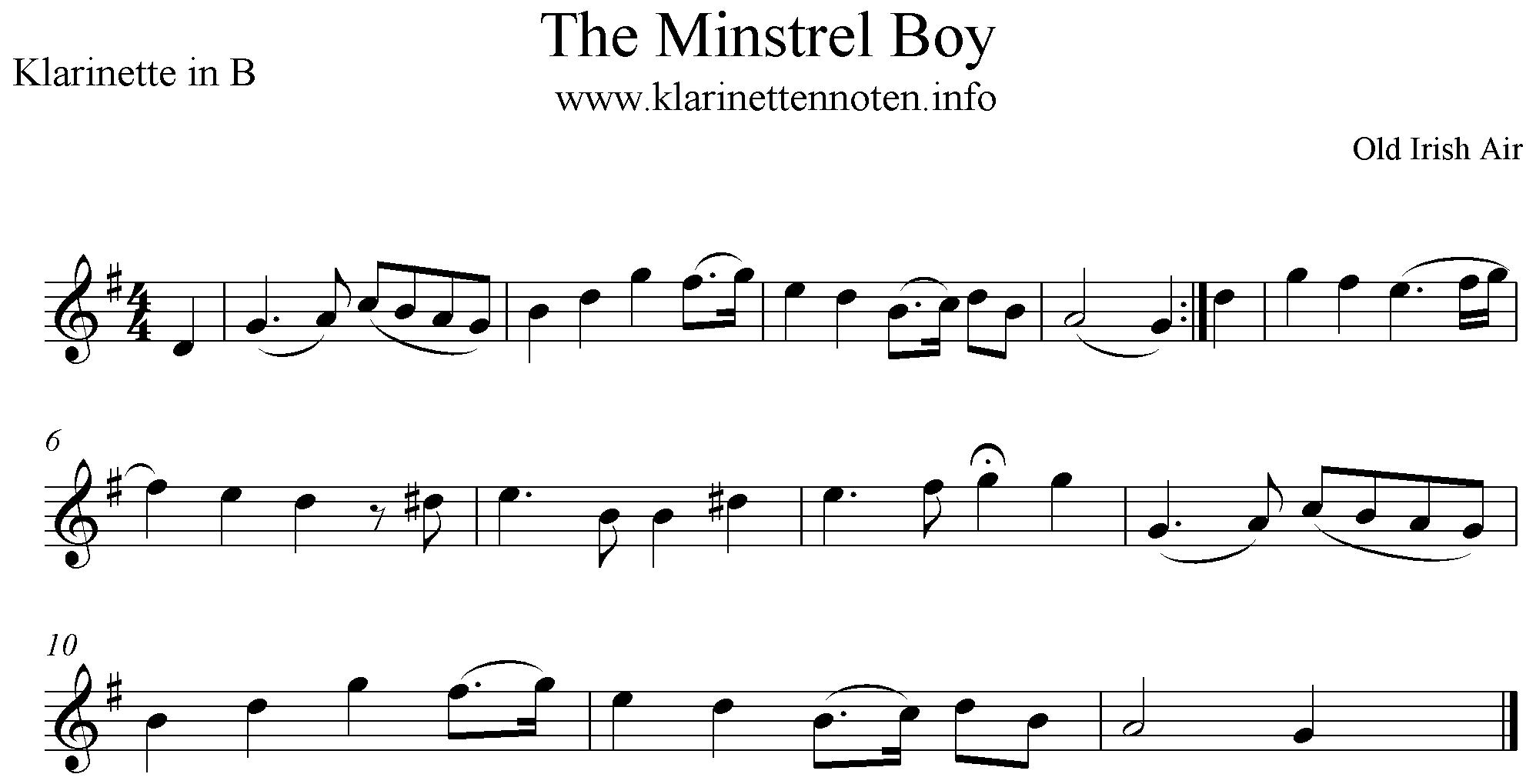 The Minstrel Boy Clarinet, Klarinette