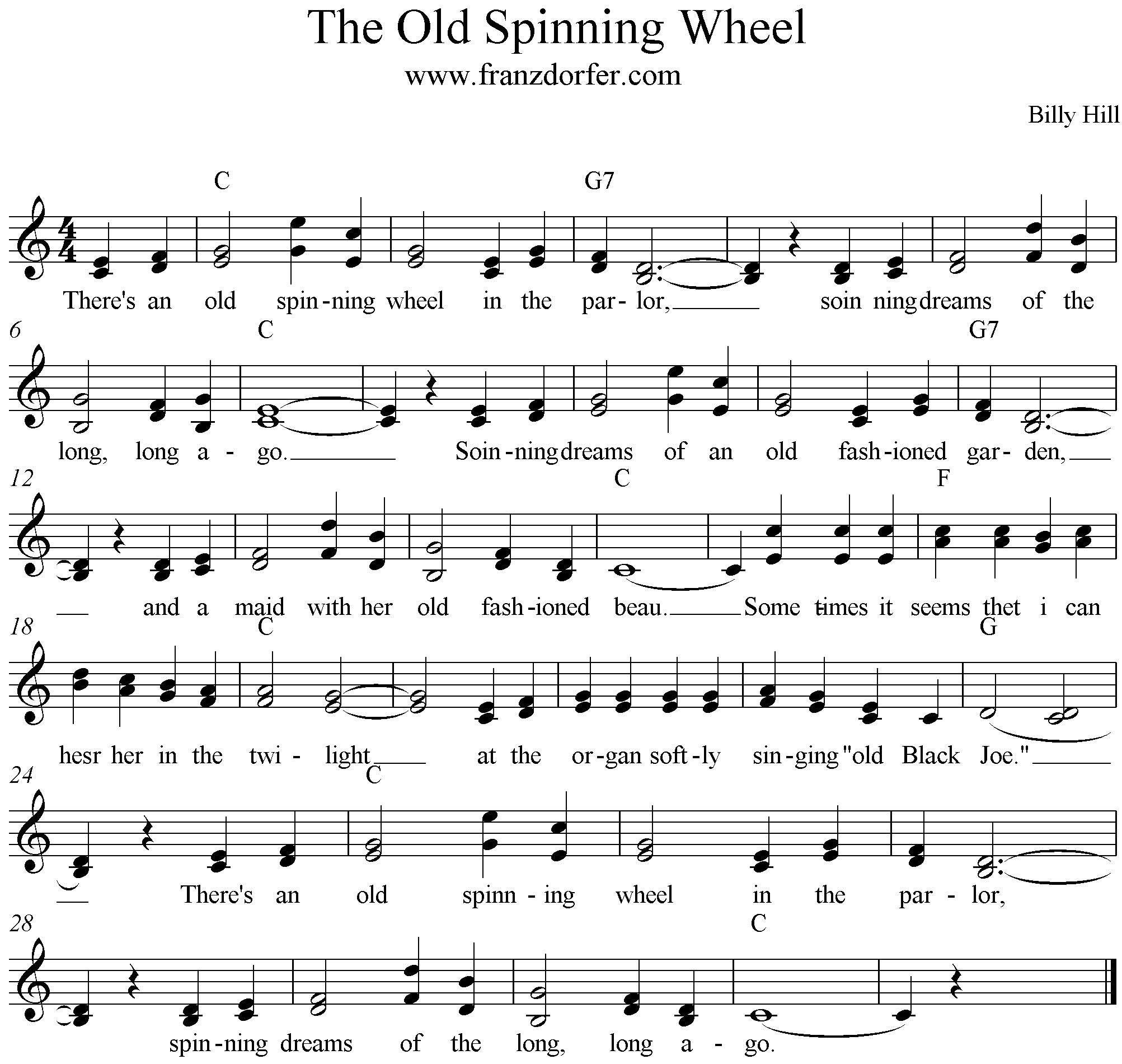 The Old Spinning Wheel Song, C-Major