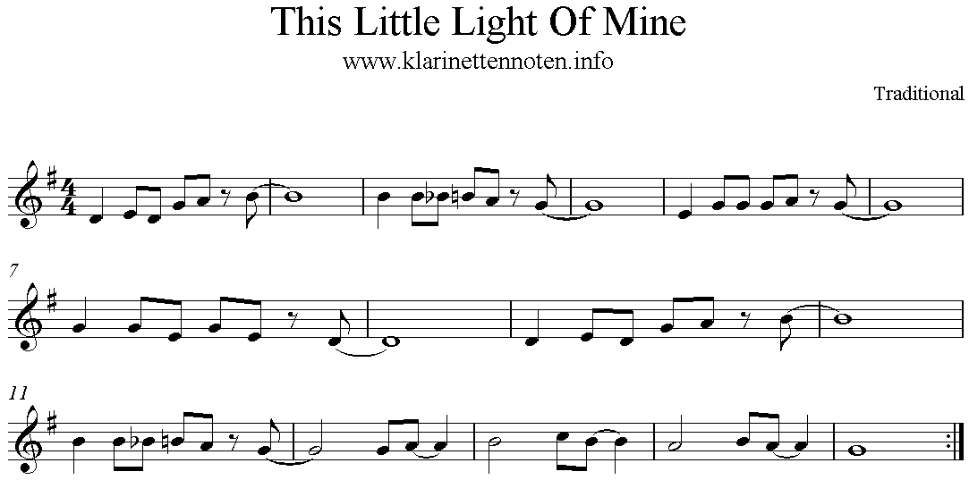 This Little Light Of Mine - Clarinet Freesheet Klarinette