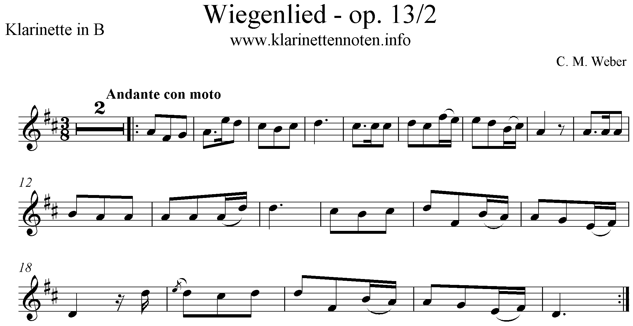 Wiegenlied, Weber, op.13/2, Lullaby, Cradle Song