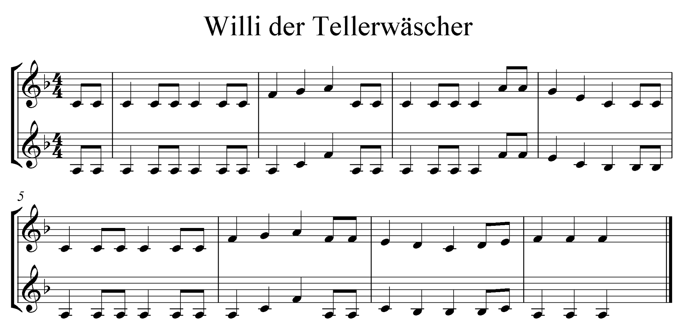 Noten für Trompete, F-Dur
