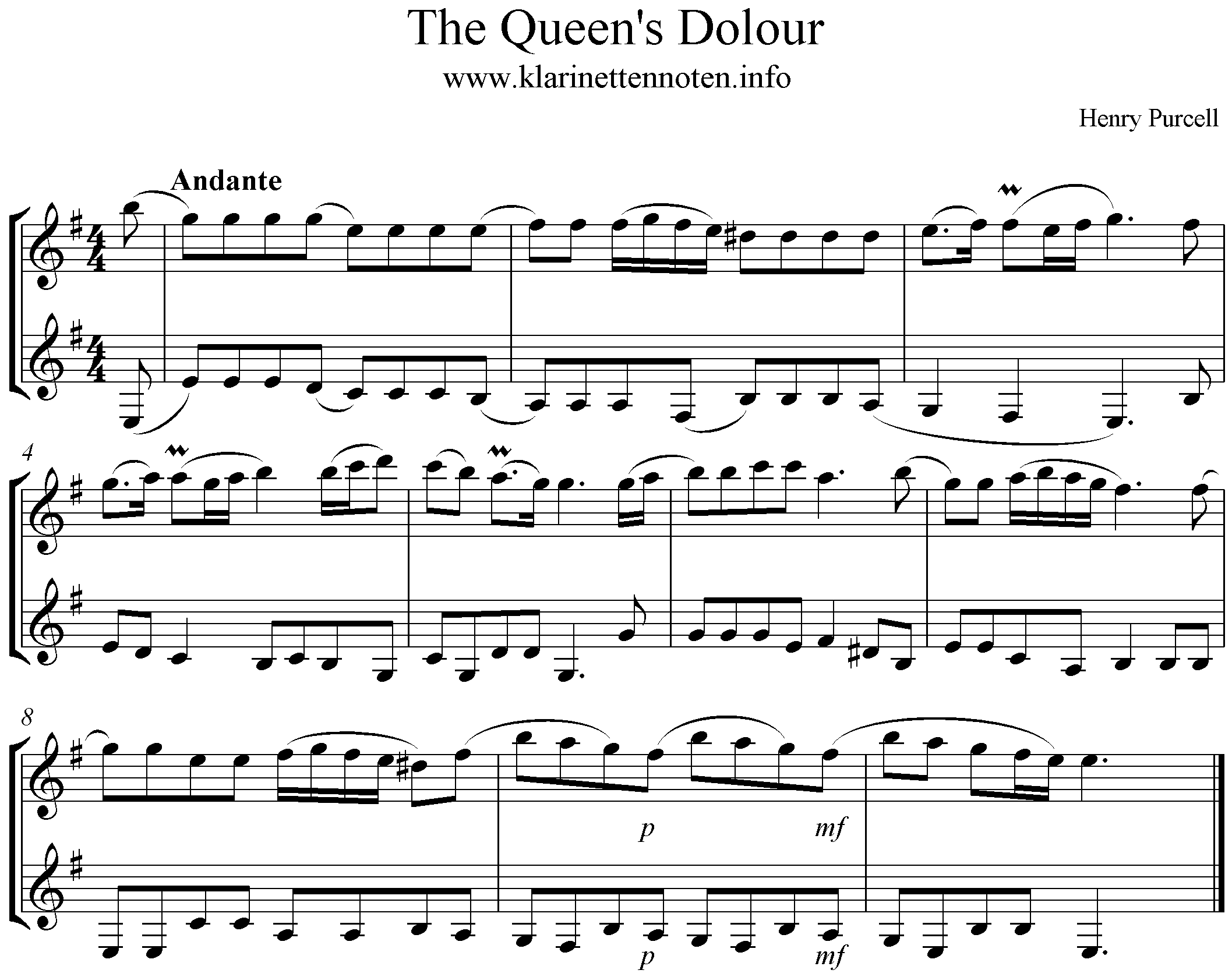 The Queen's Dolour , Purcell